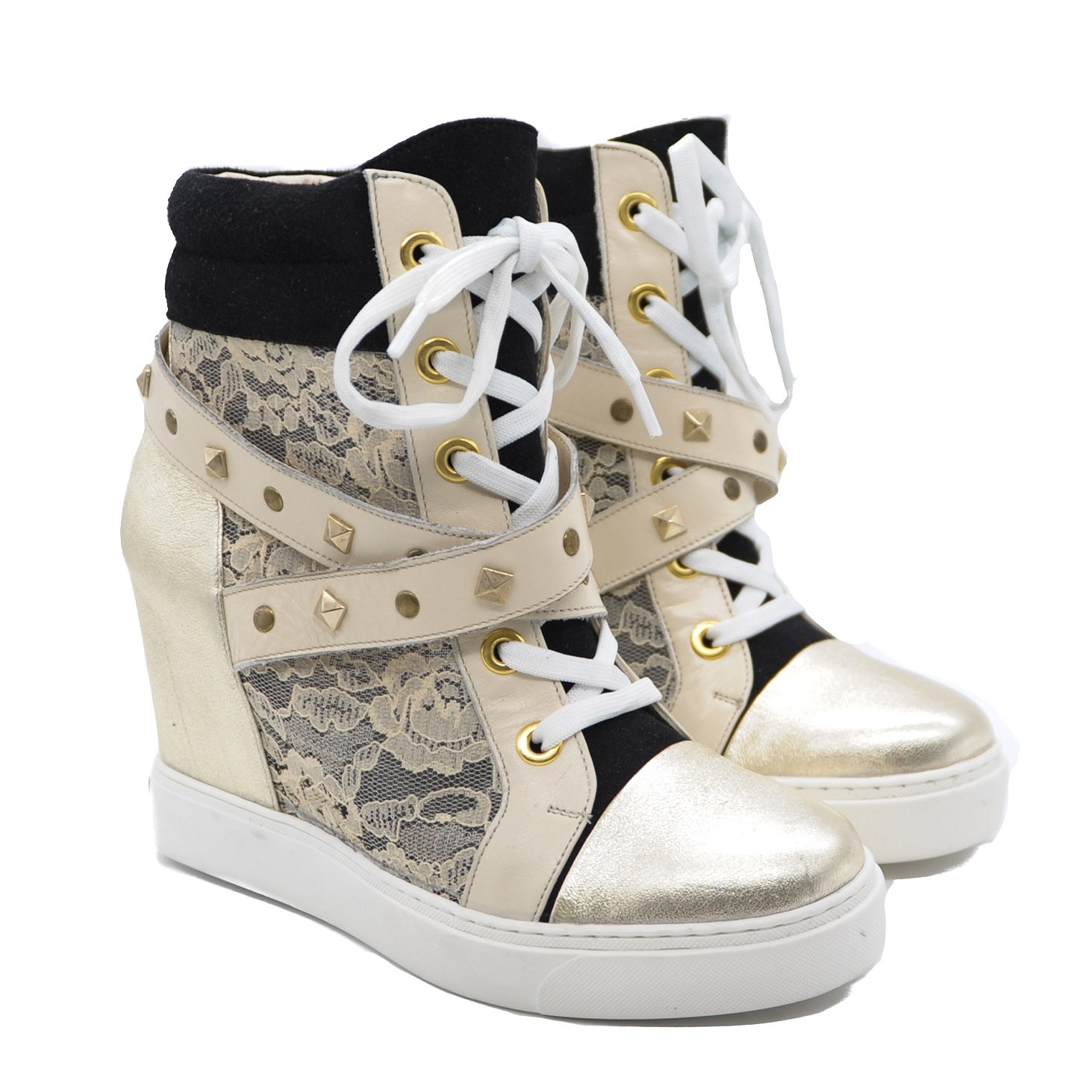 Ankle High Decorative Shoes with Hidden Wedge and Front Lace Ties and Side Zip