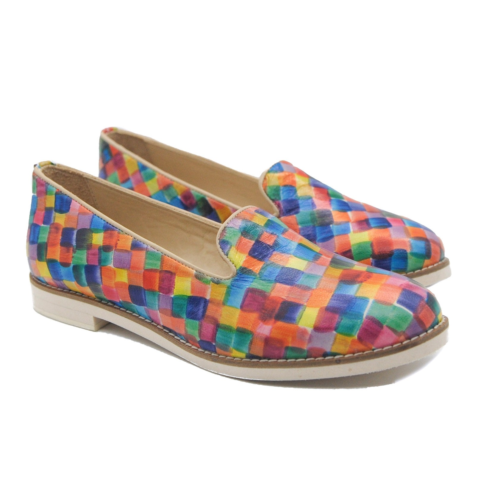 Art Goya Ladies' Leather Loafer Decorated with Multi Coloured Squares