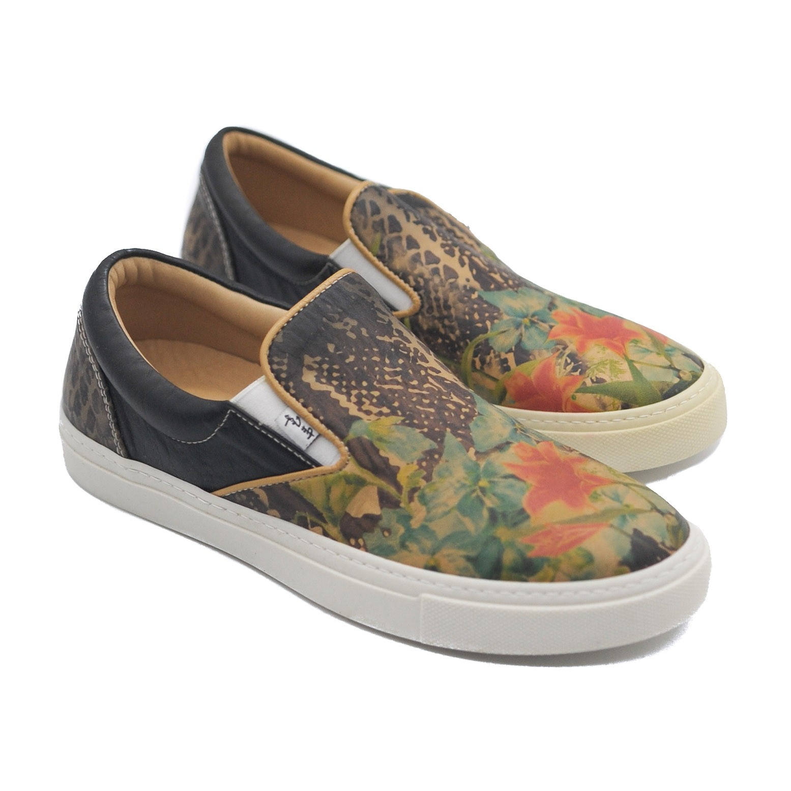 Art Goya Ladies' Slip on Leather Pumps with a Floral Design Low Skater Shoes