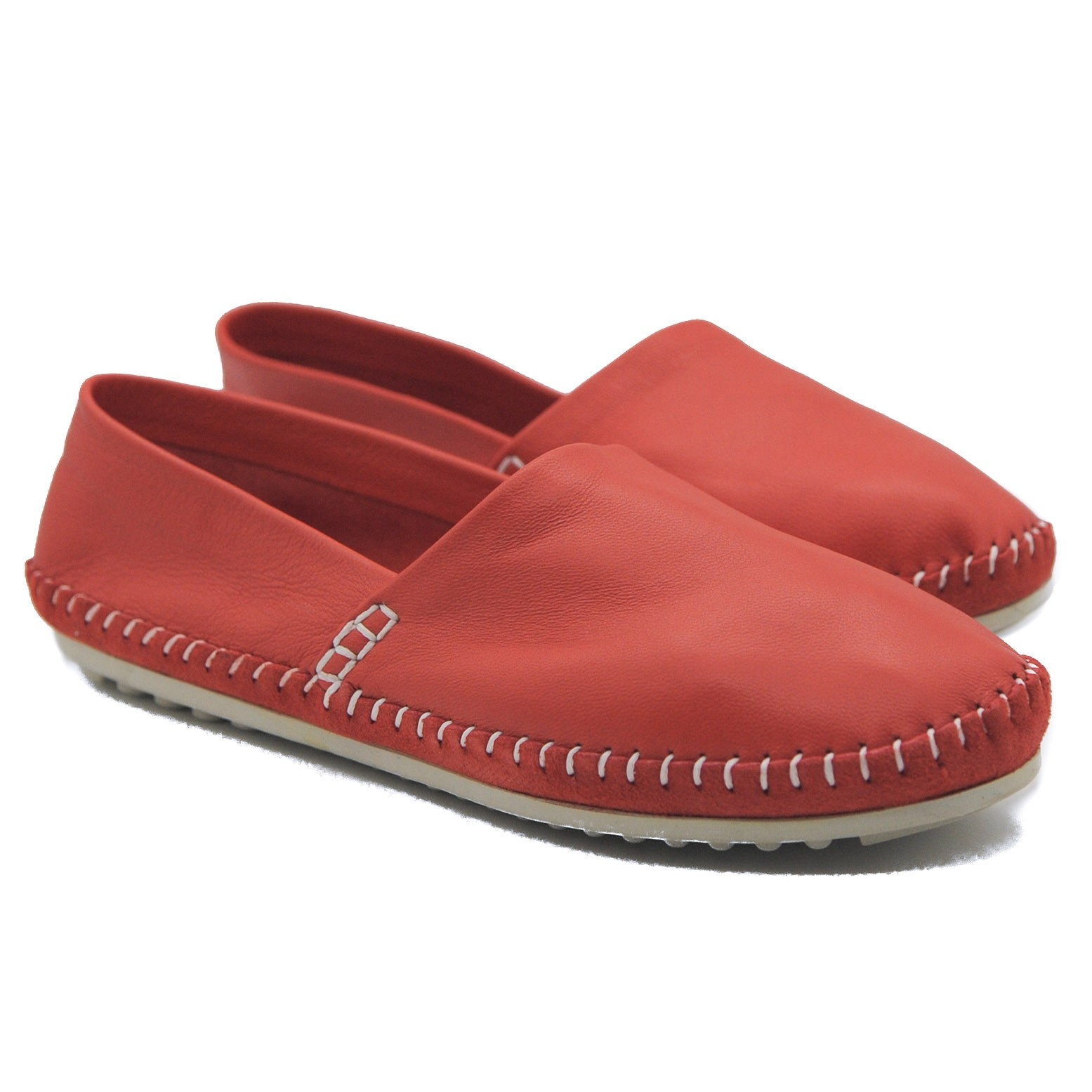 Art Goya Ladies' Soft Leather Rose Red Flat Slip on Comfort Summer Shoes