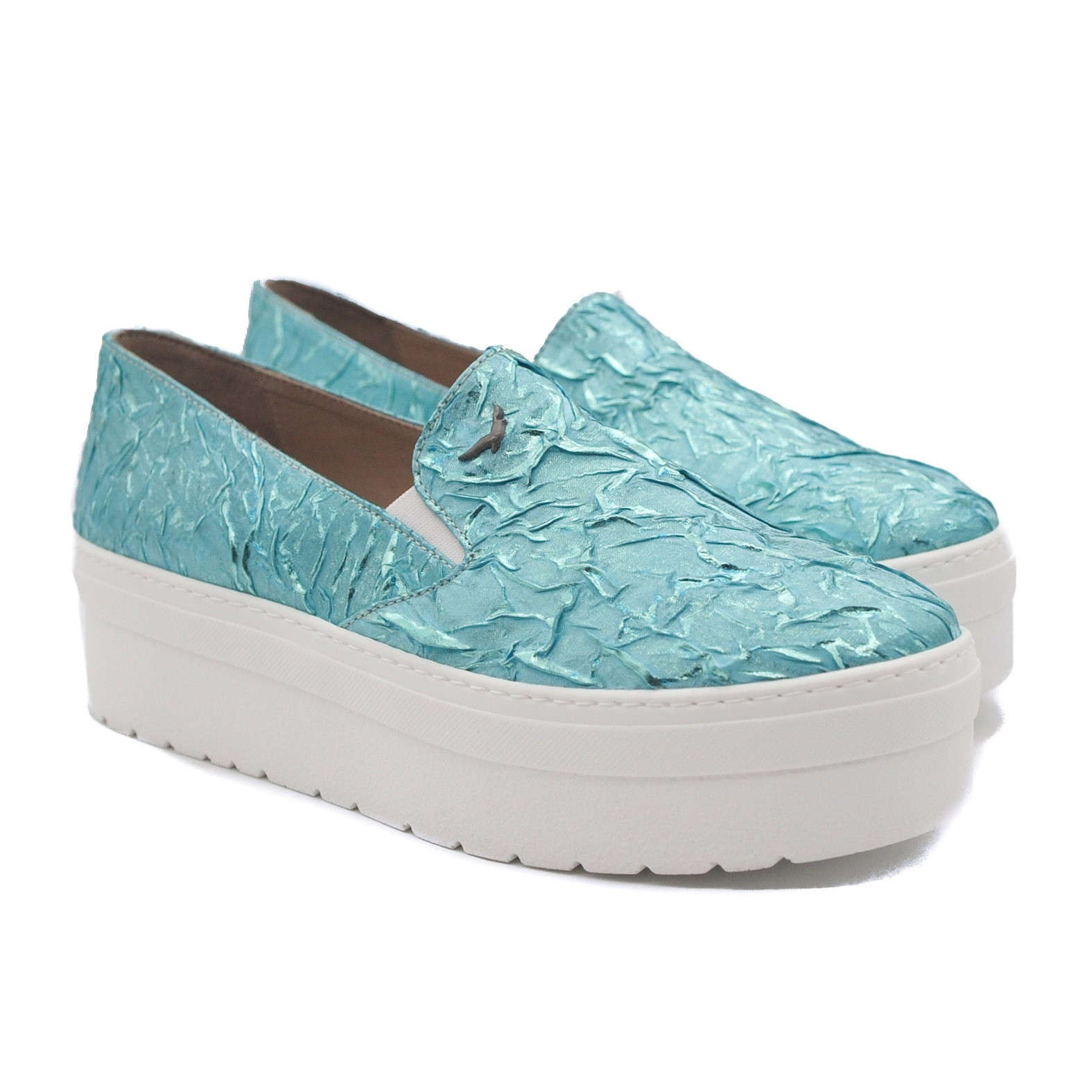Art Goya Ladies' Turquoise Slip on Platform Trainer Loafers with Textured Upper