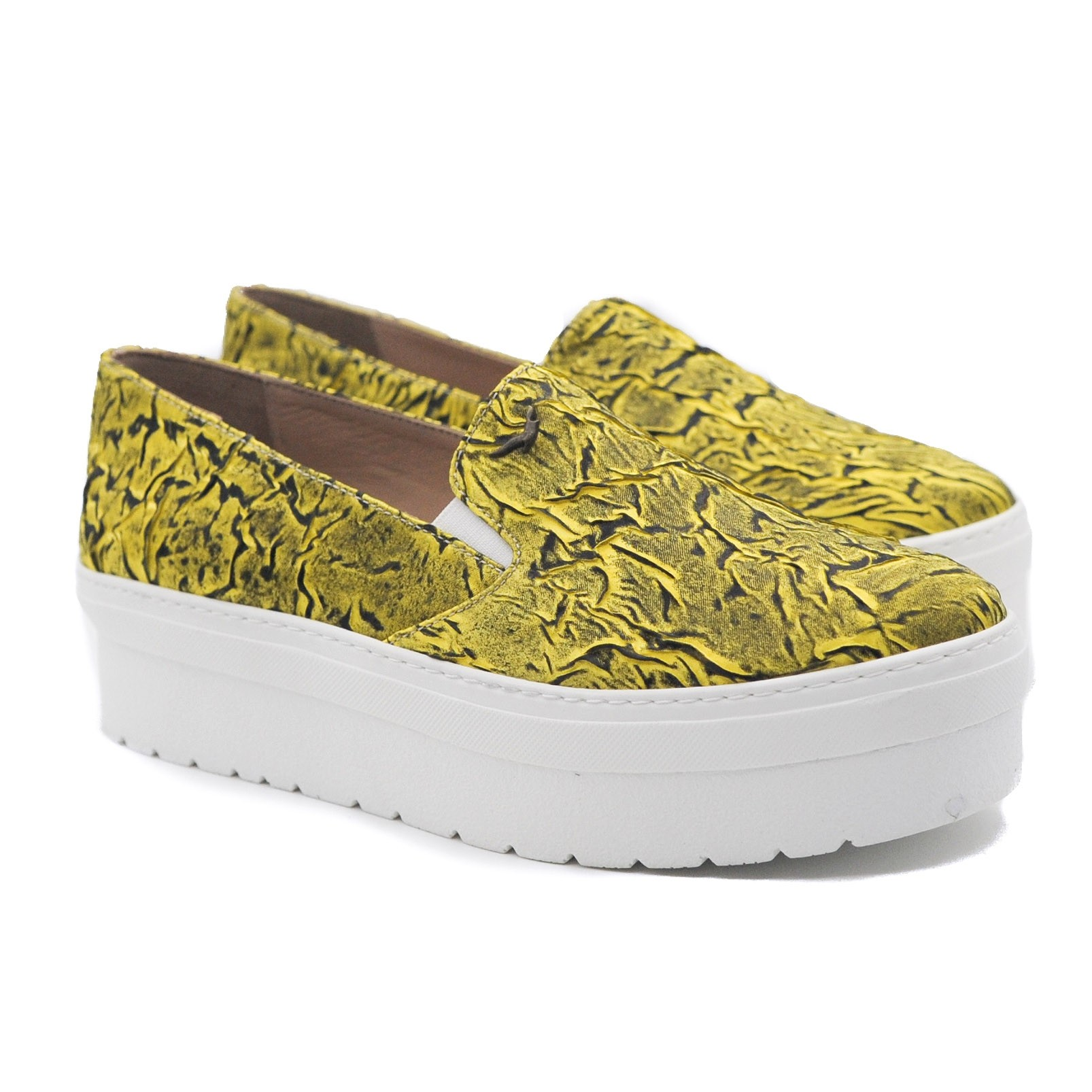 Art Goya Ladies' Yellow and Black Slip on Platform Loafers with Textured Upper