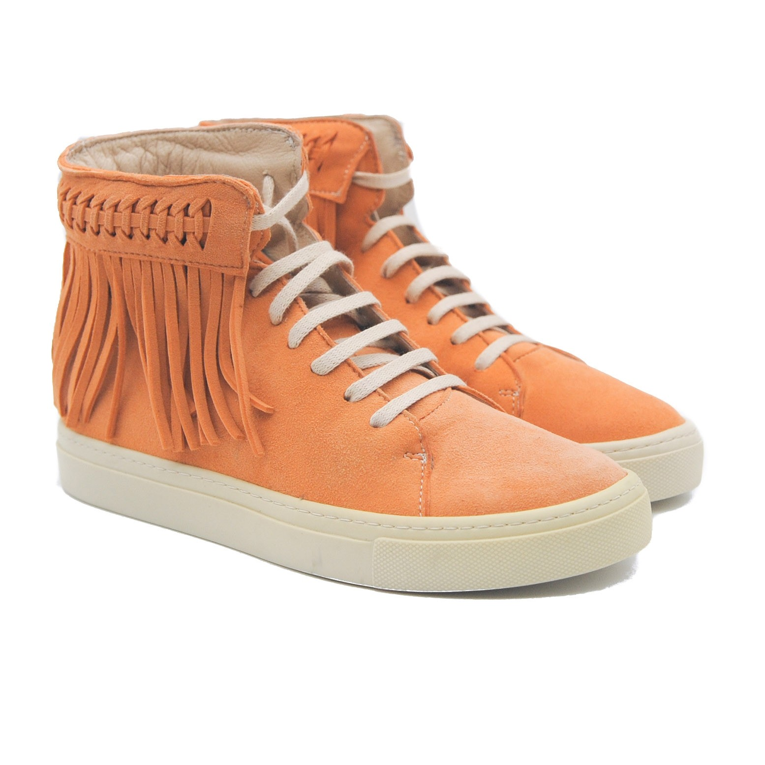 Art Goya Mango Colour Lace up Suede High Skater Boot with Suede Fringed Trim