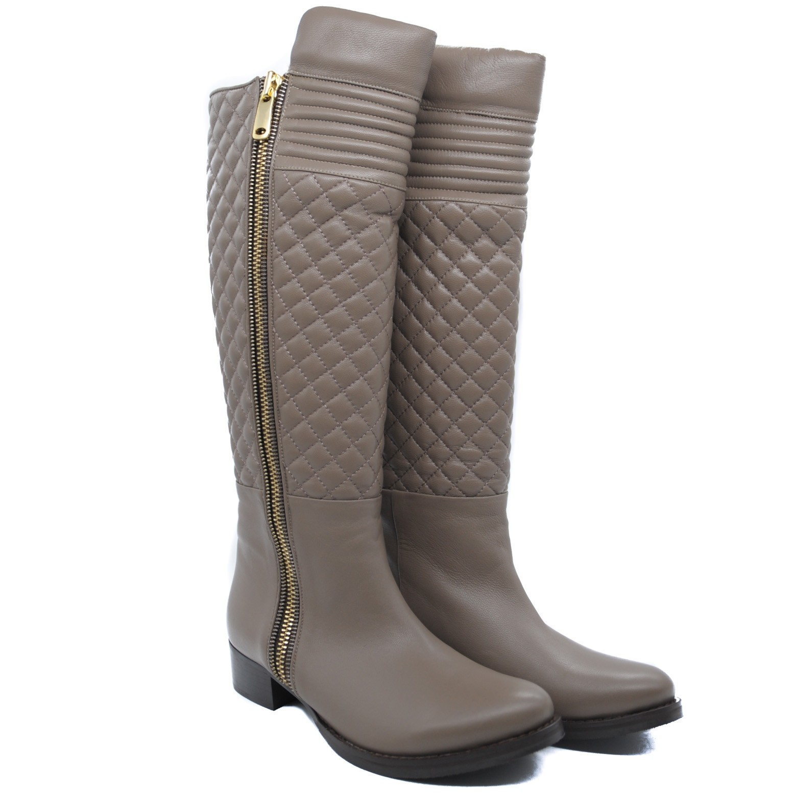 Beautifully Designed Quited Leather Knee Length Boots with Full Length Side Zip