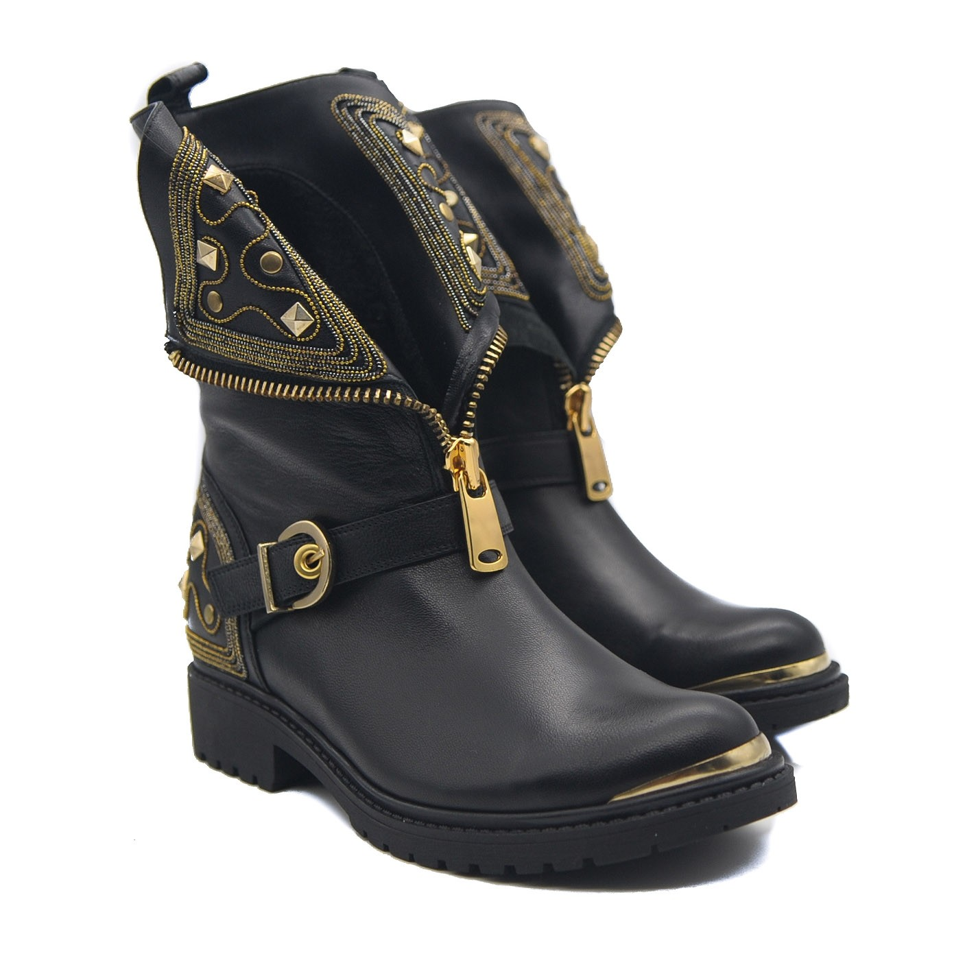 Biker Boots Black Leather Chic Gold Stud Embellished Front and Side Zip with Side Buckle