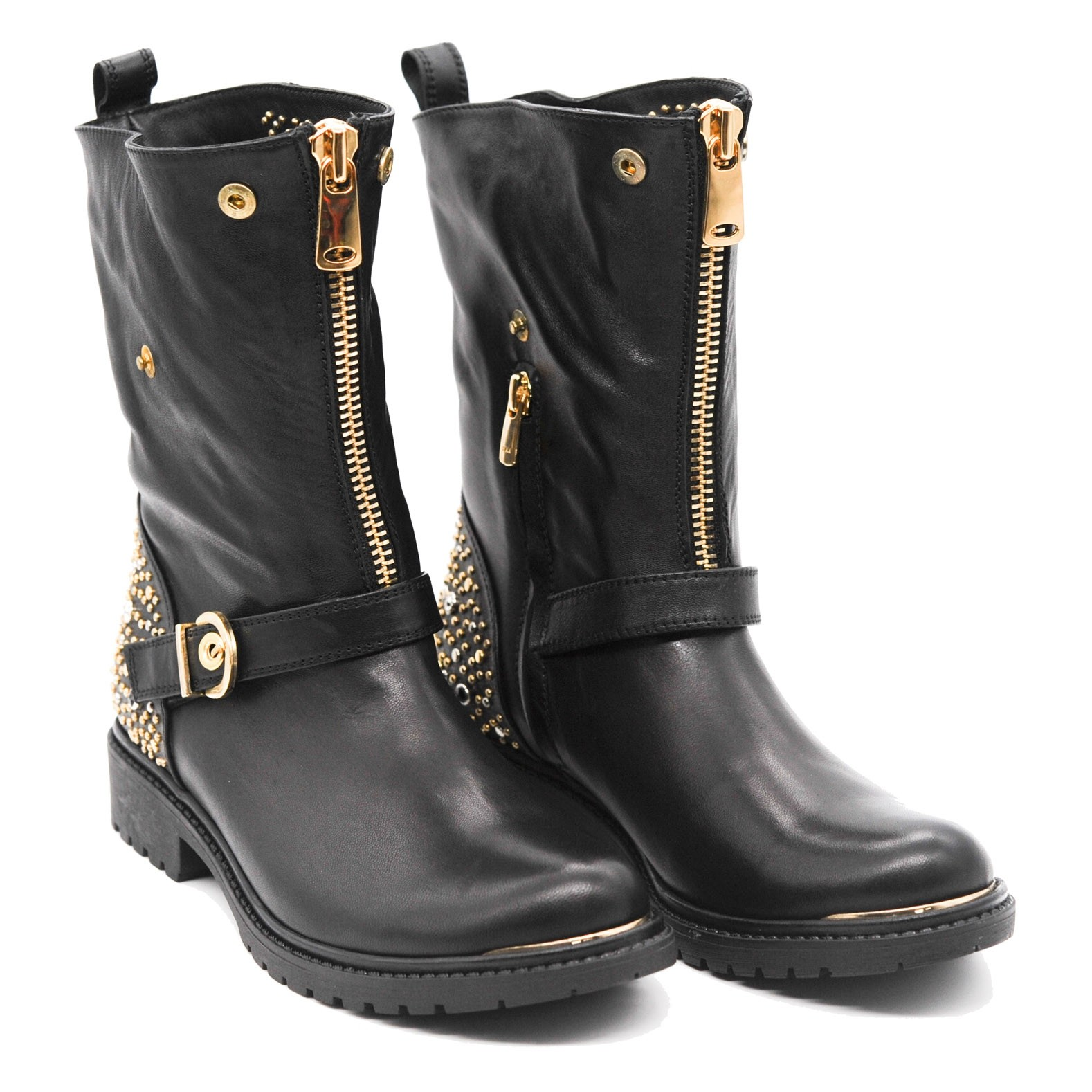 Biker Smooth Leather Ankle Boots with Stud Embellished Detailing Front Zip Fastening and Buckle