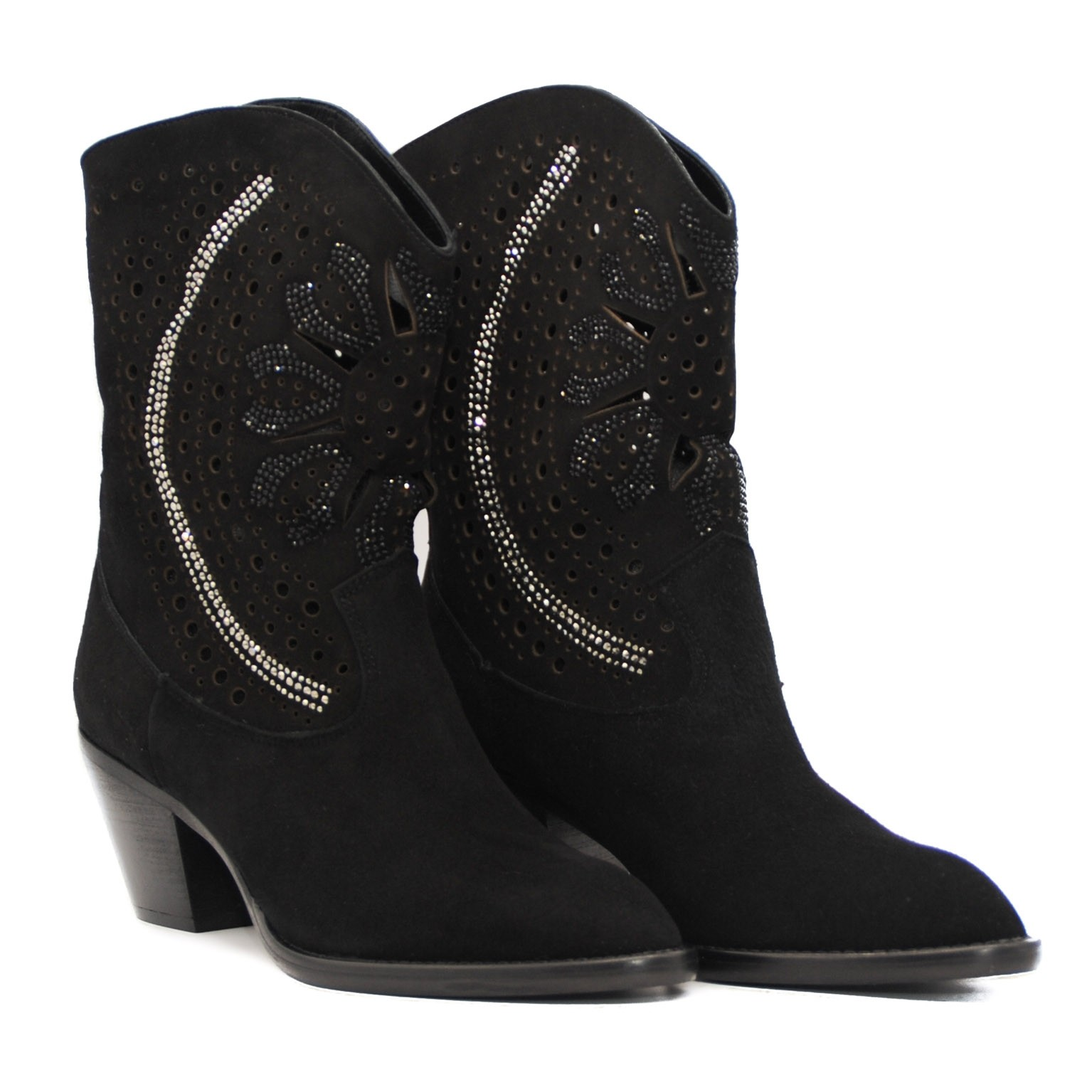 Cowboy Jewel Elegant Mid Calf Fashion Suede Boots with Pointed Toe and Medium Heel