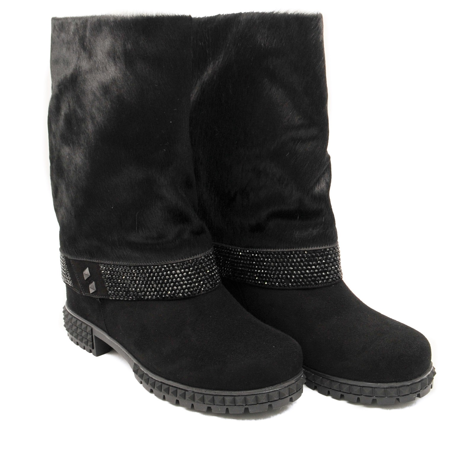 Fashionable Slouchy Boots with Outer Fur Lined Rubber Soles and Sparkley Patterned Band