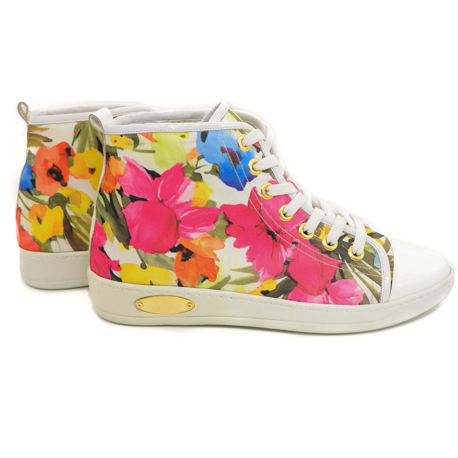 Floral Converse Style Trainer Sneakers with Rounded White Toecap and Laces
