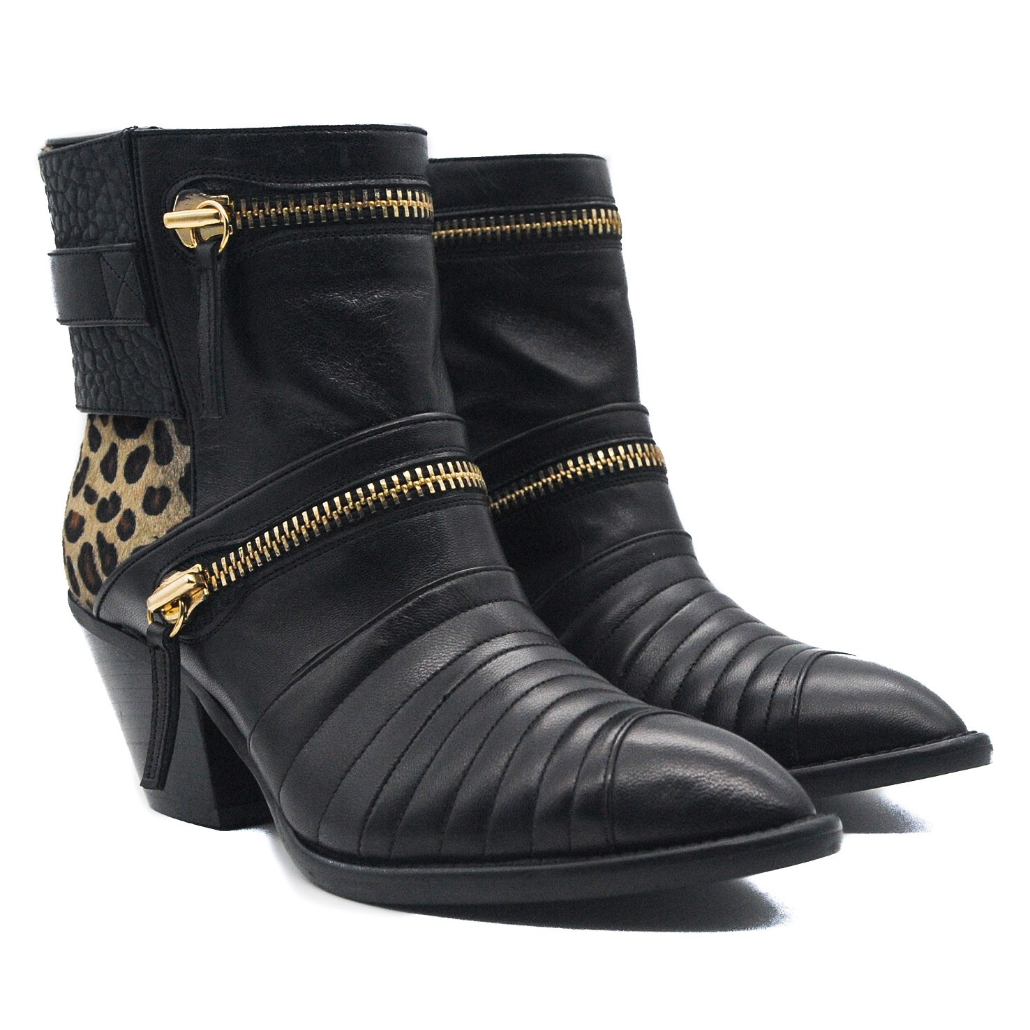 Goody2Shoes Animal Print Pony Hair and Black Leather Ladies' Boot with Decorative Zips
