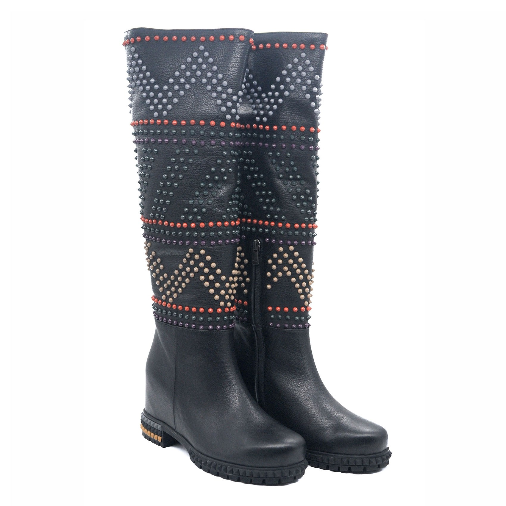Goody2shoes Black Leather Ladies Boots with Coloured Stud Design