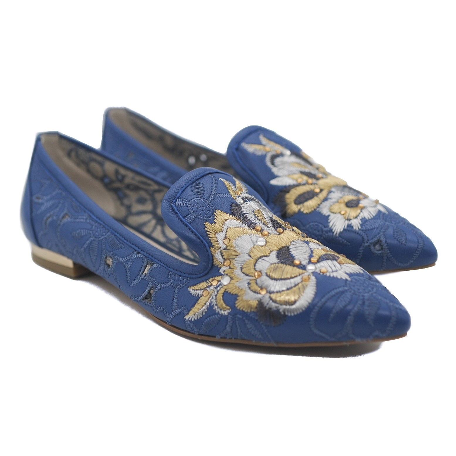 Goody2Shoes Blue Leather Flat Pumps with Cut Out Design and Embroidered Front