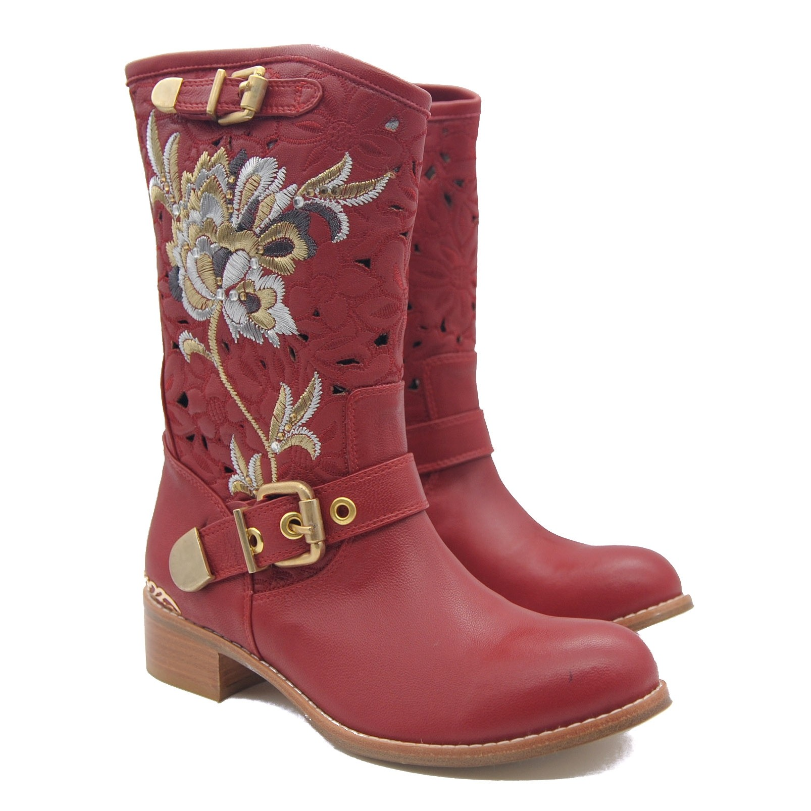 Goody2Shoes Flat Heel Red Leather Calf Length Boots with Embroidered Flower