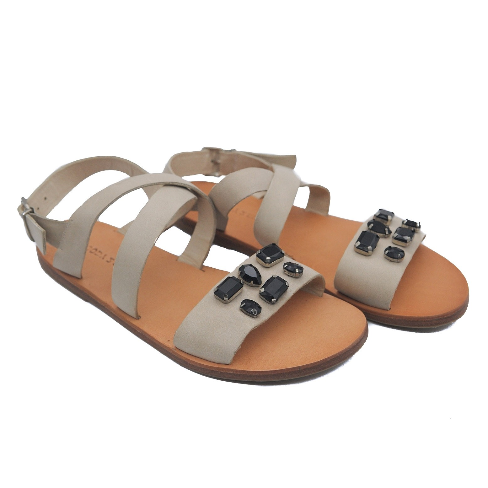 Goody2Shoes Flat Sandals for Ladies in Cream Leather with Crossover Straps and Jewels