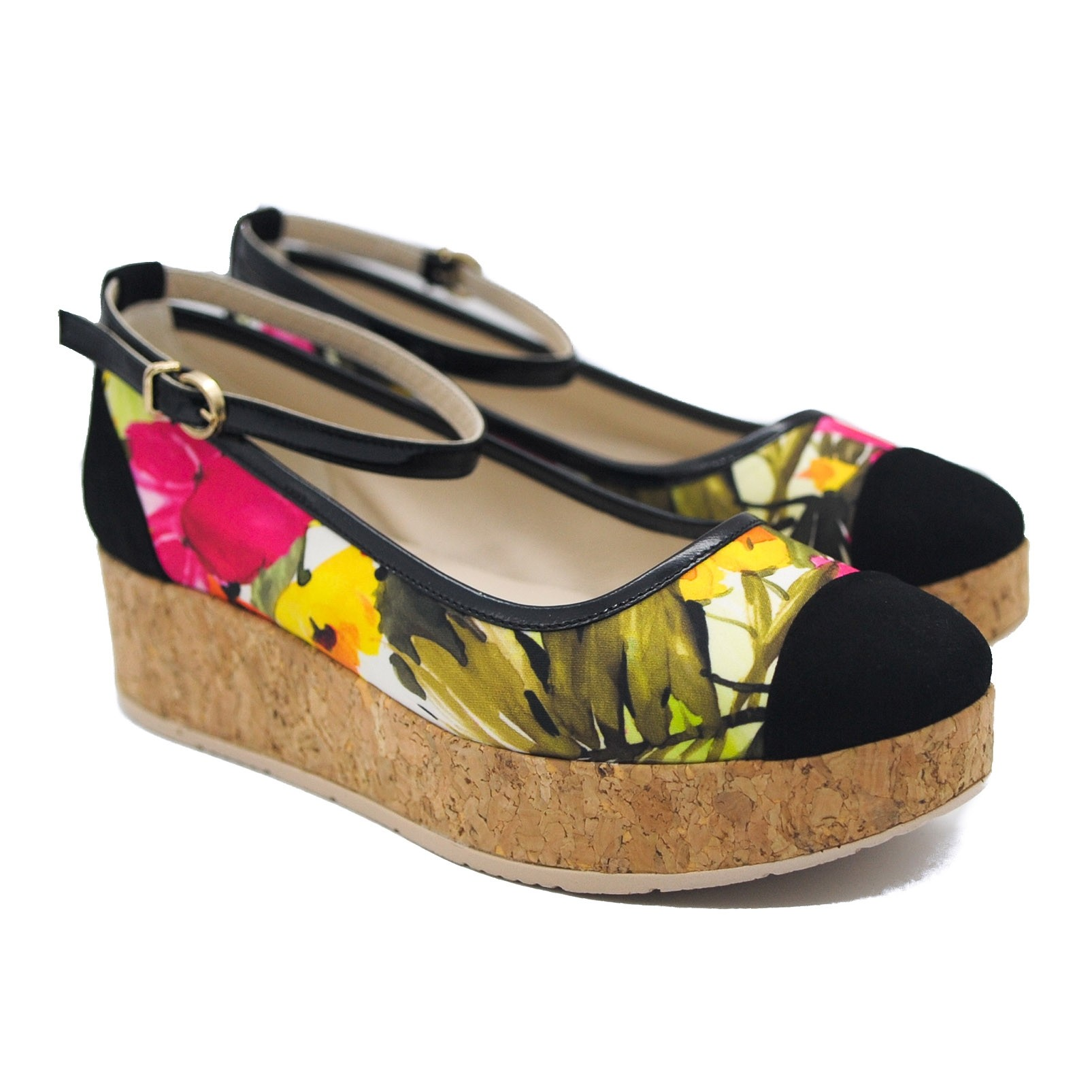 Goody2Shoes Floral Cork Platform Wedges with Black Trim and Ankle Fastening