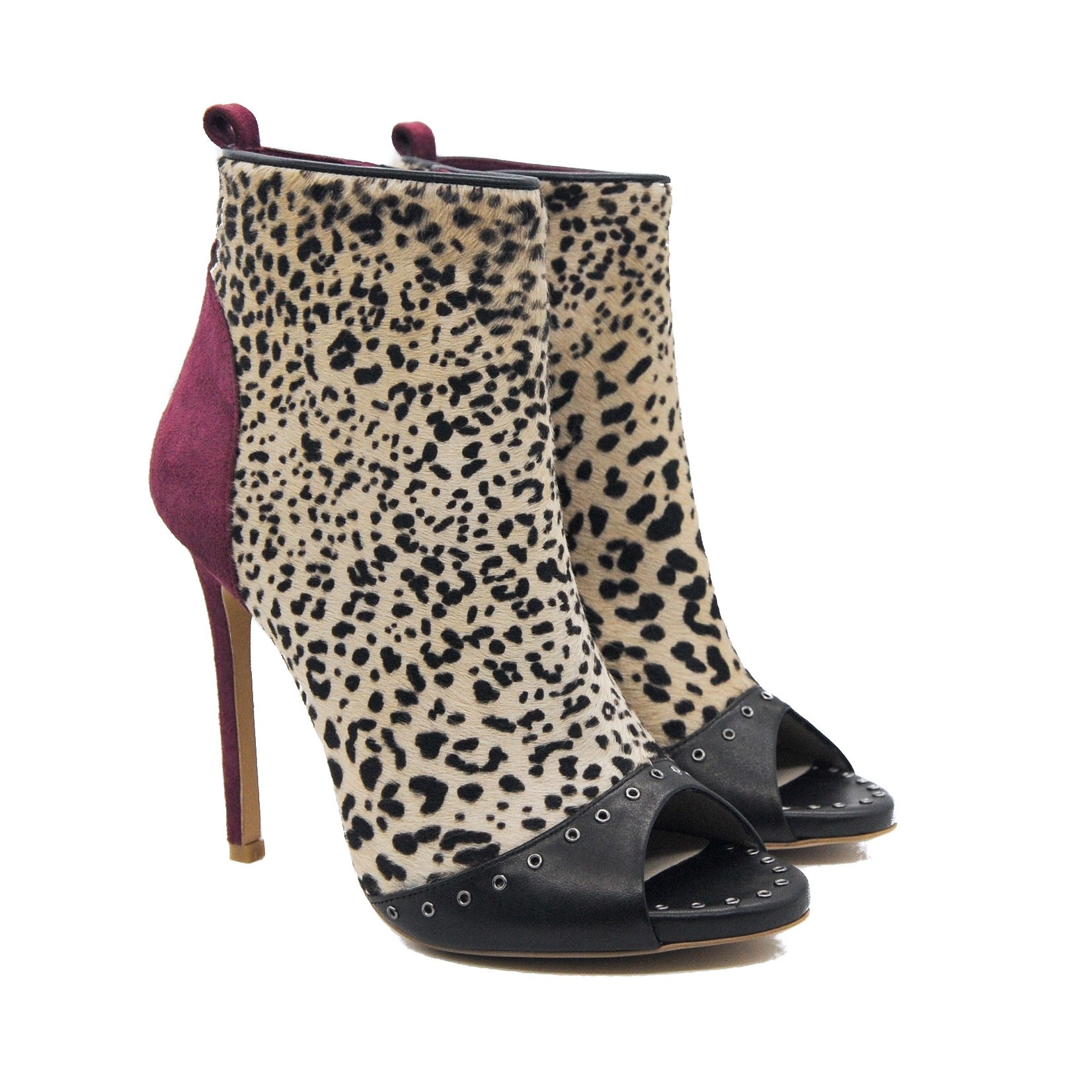 Goody2Shoes Fuchsia Suede and Cheetah Print Pony Hair Peep Toe Stiletto Shoe Boot