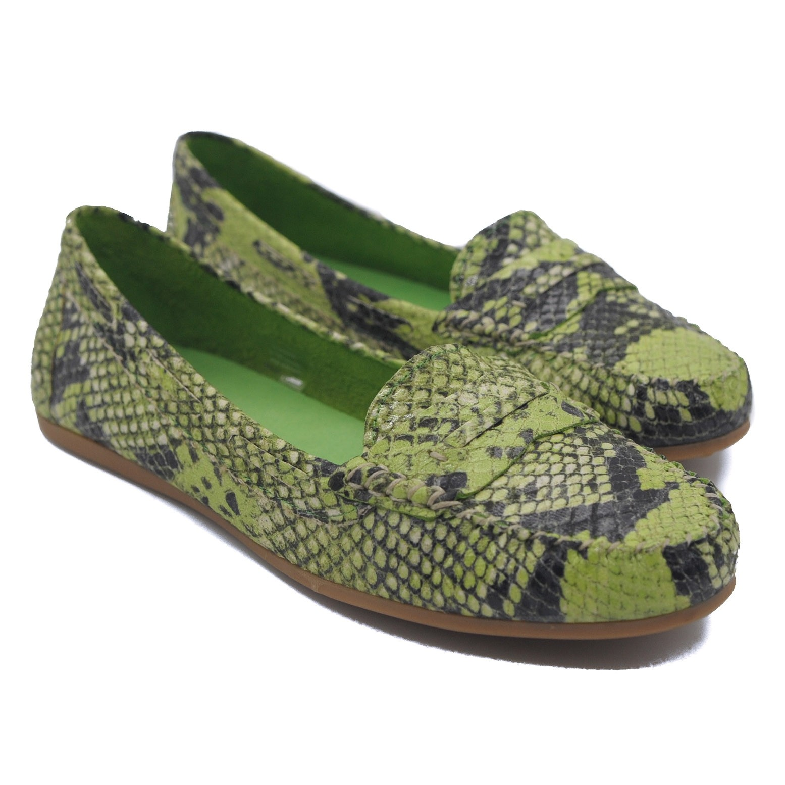 Goody2Shoes Ladies Apple Green Faux Snakeskin Penny Loafers