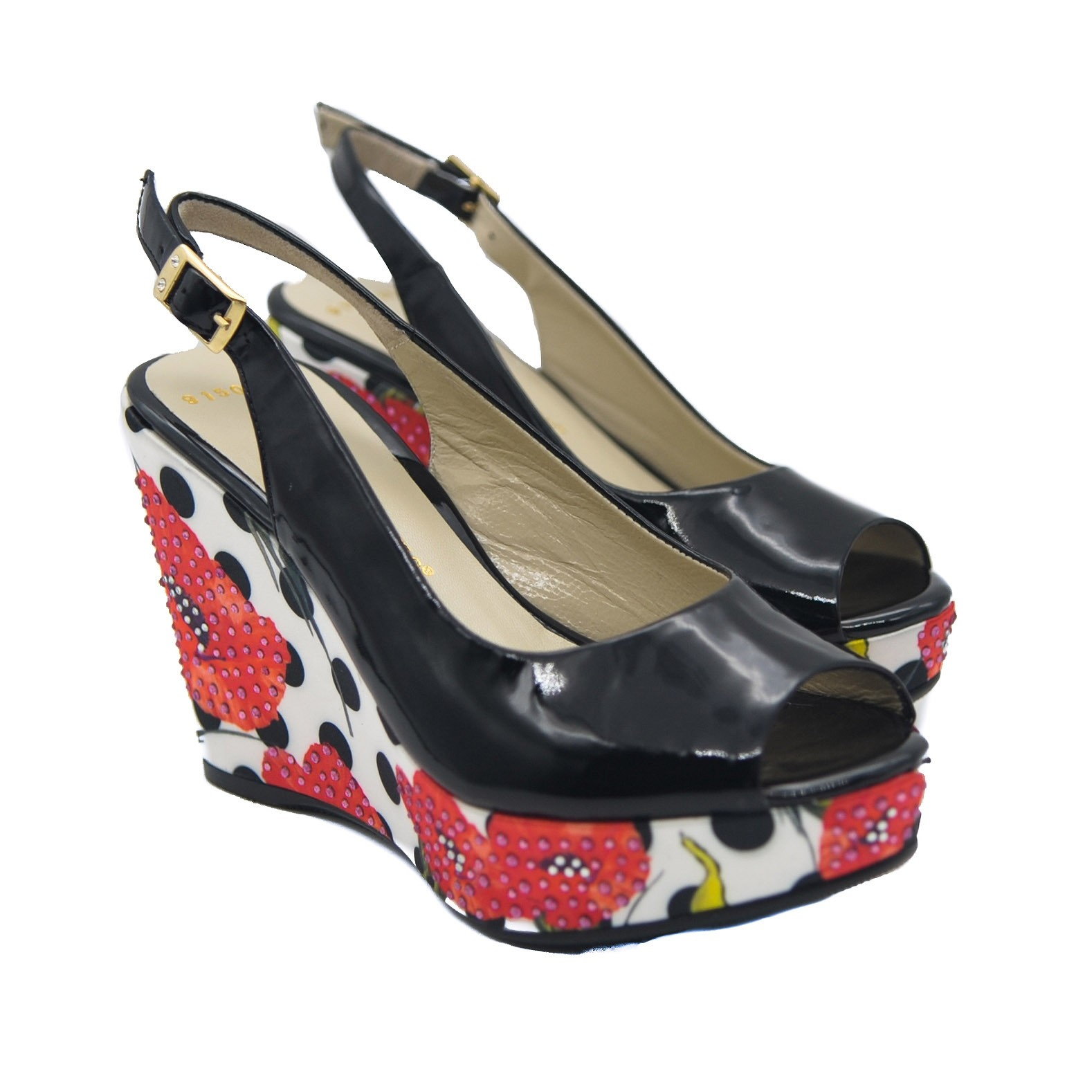 Goody2Shoes Ladies' Black Patent Peep Toe Slingback Wedges with Poppies