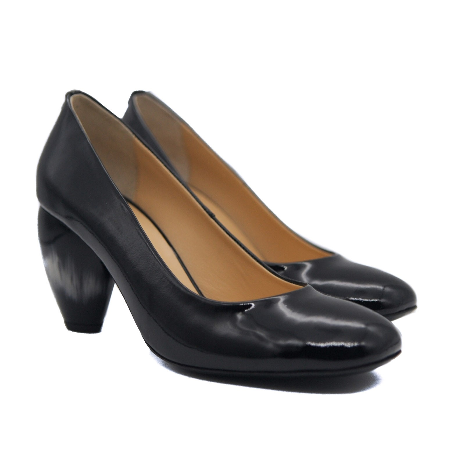 Goody2Shoes Ladies Court Shoes in Black Patent Leather with Tulip Heel