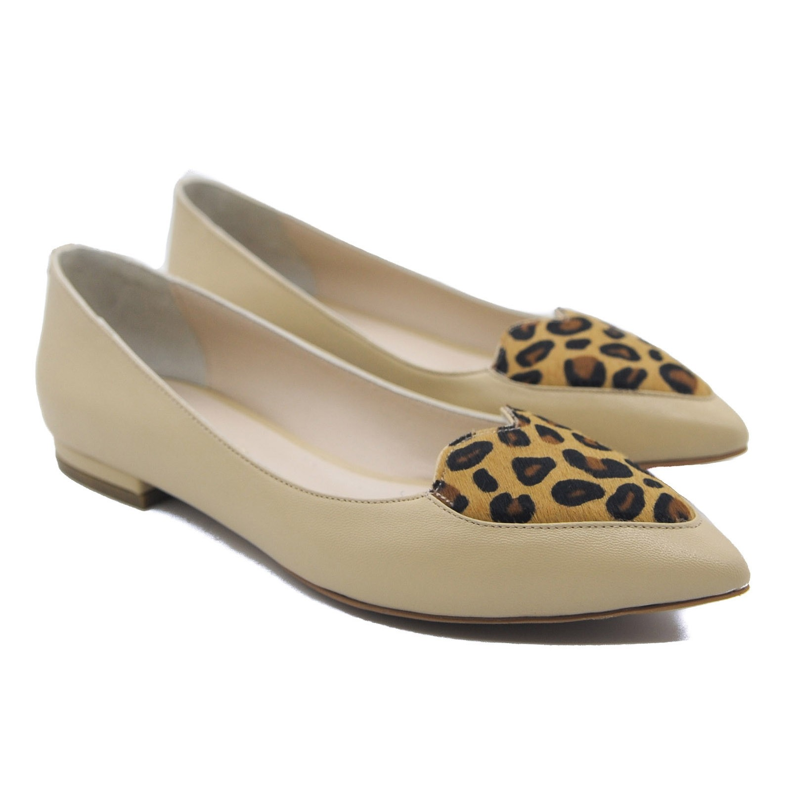 Goody2Shoes Ladies' Cream Ballet Pumps with Leopard Print Pony Hair Heart Detail
