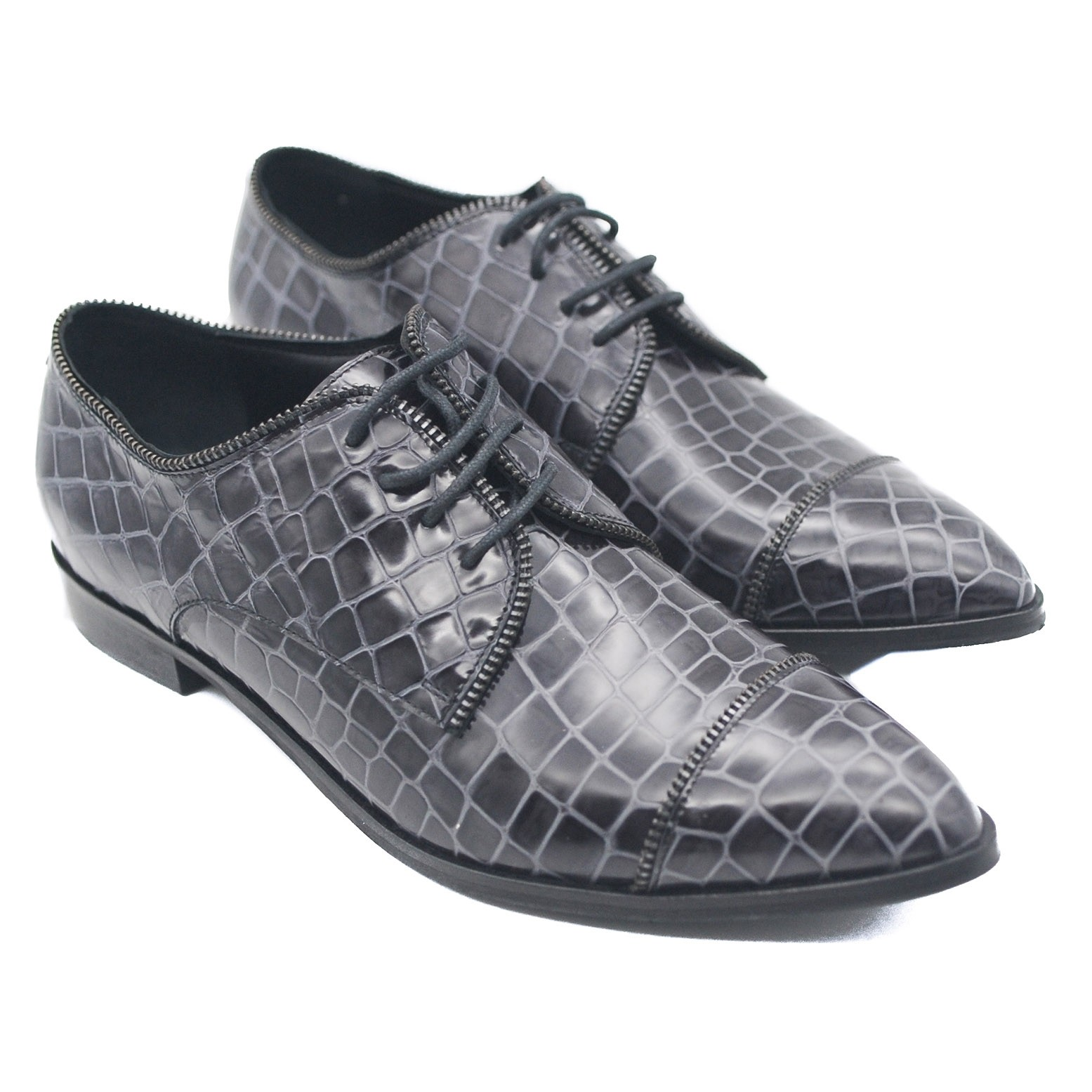 Goody2Shoes Ladies Grey Brogues Pebble Effect Lace Up Leather Brogues with Decorative Zip