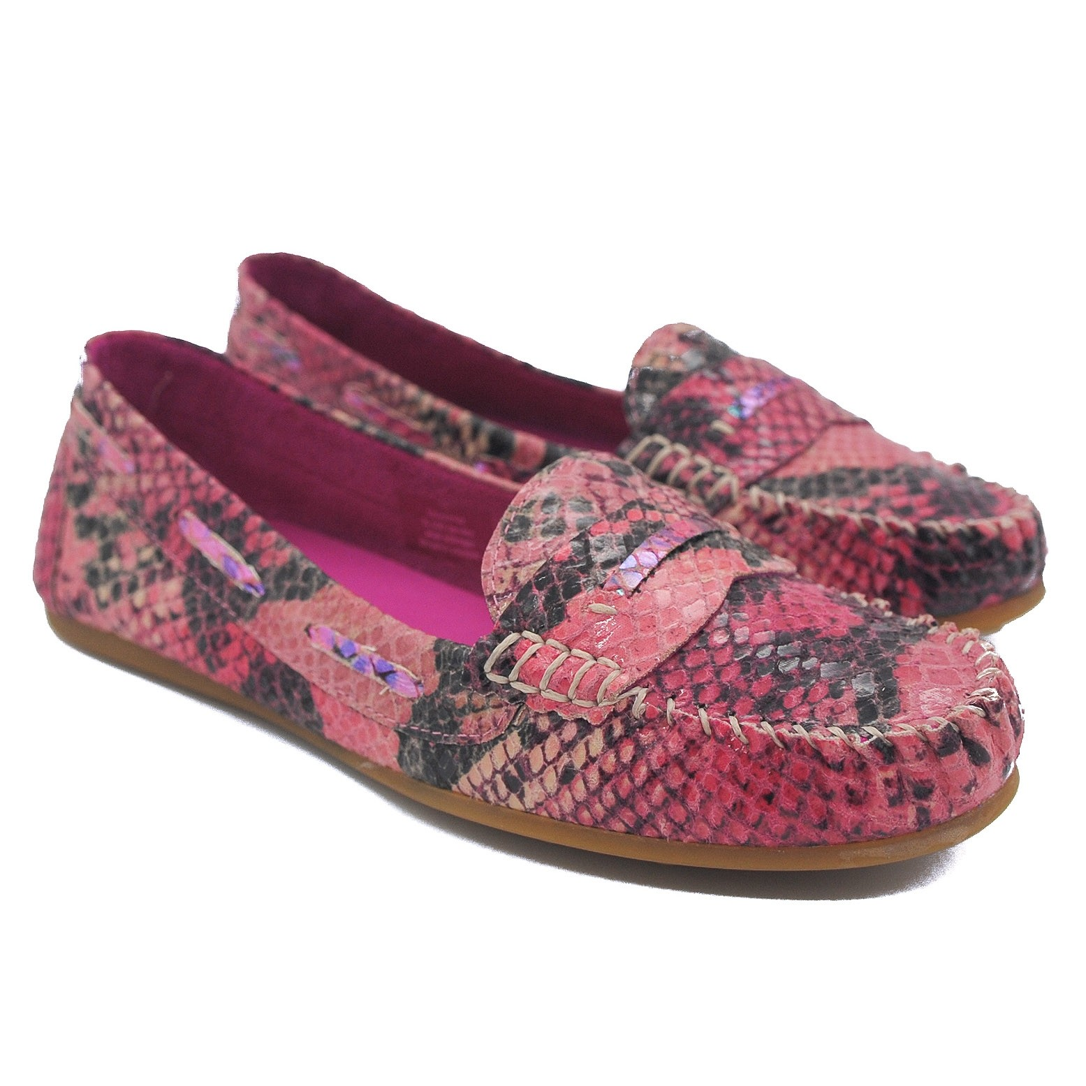 Goody2Shoes Ladies Hot Pink Faux Snakeskin Moccasins