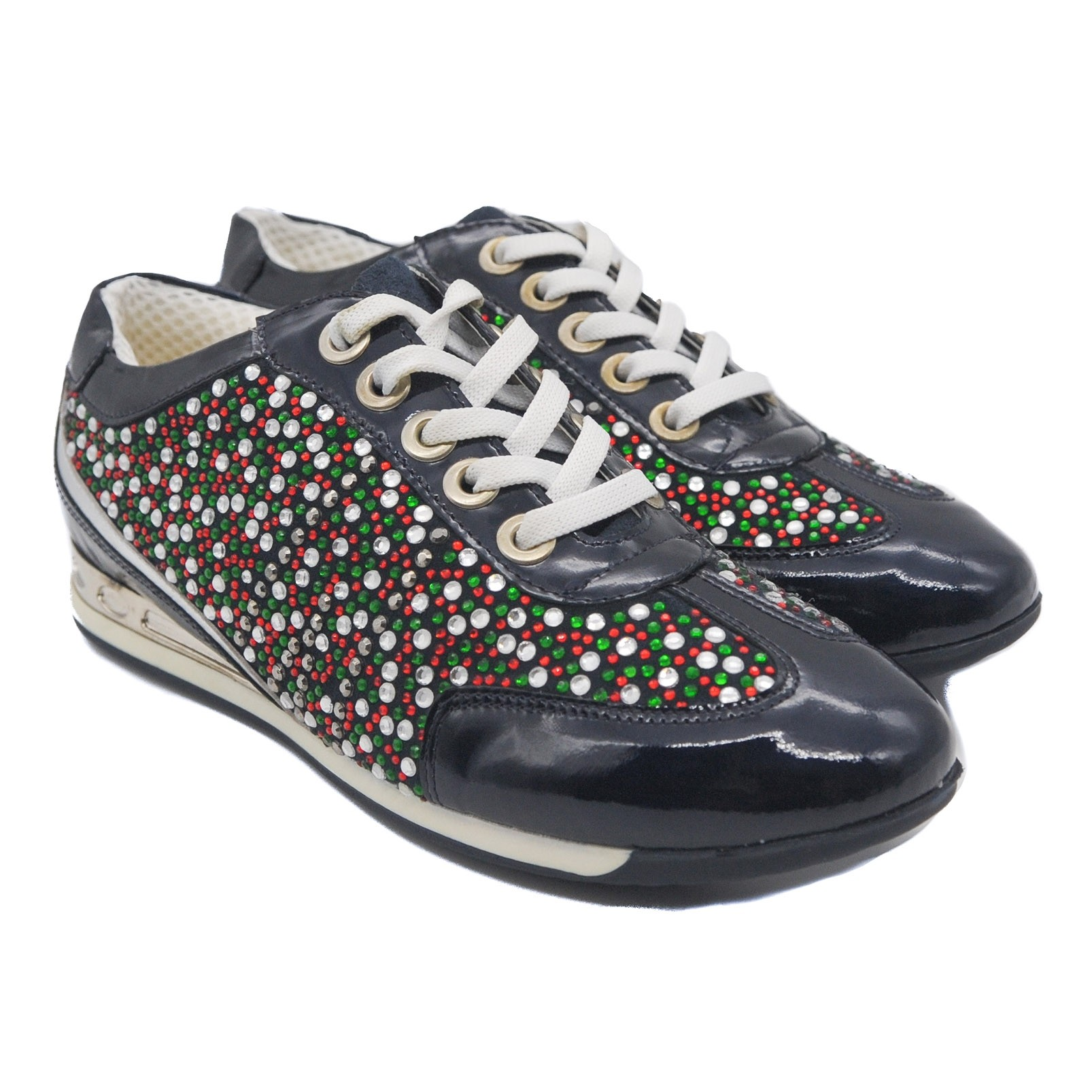 Goody2Shoes Ladies Lace Up Patent Black Trainers with Gems in Red Green and White