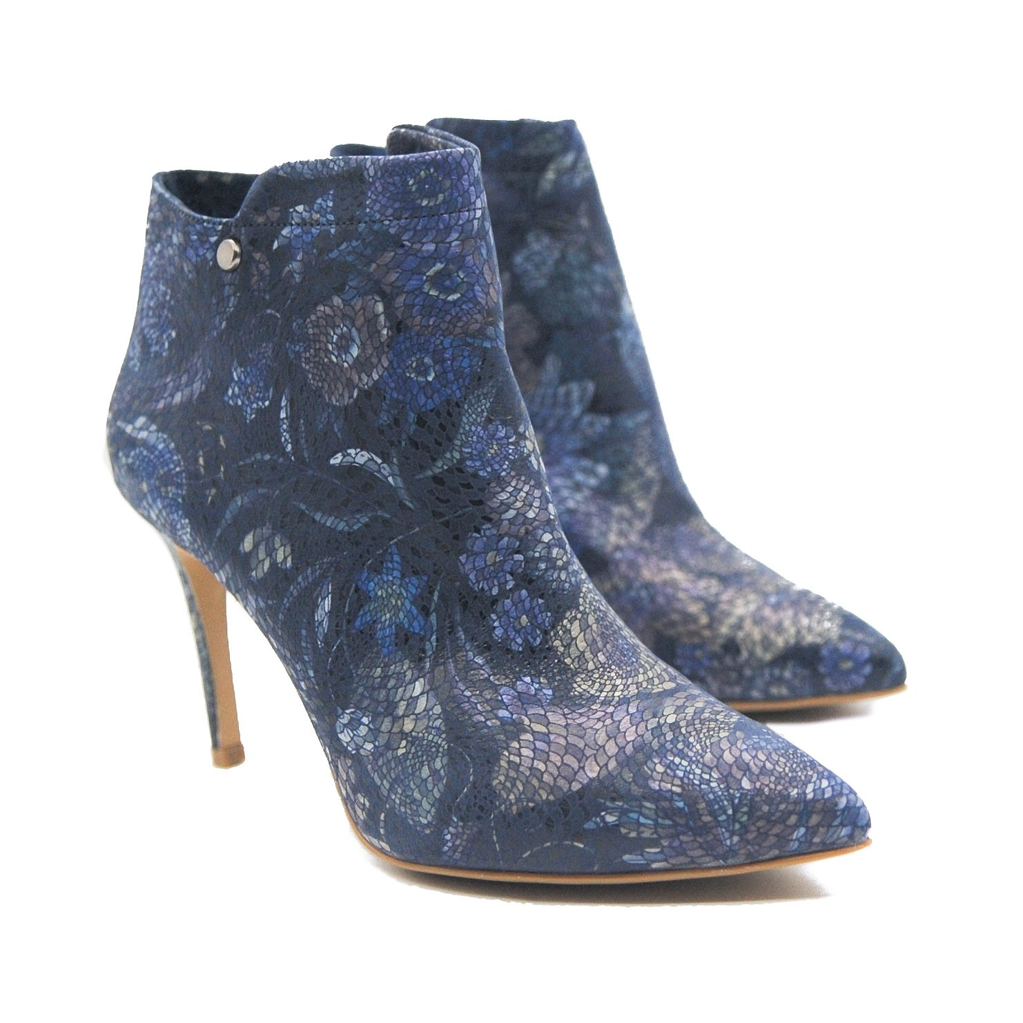 Goody2Shoes Ladies' Leather Flower Patterned Stiletto Blue and Purple Ankle Boots