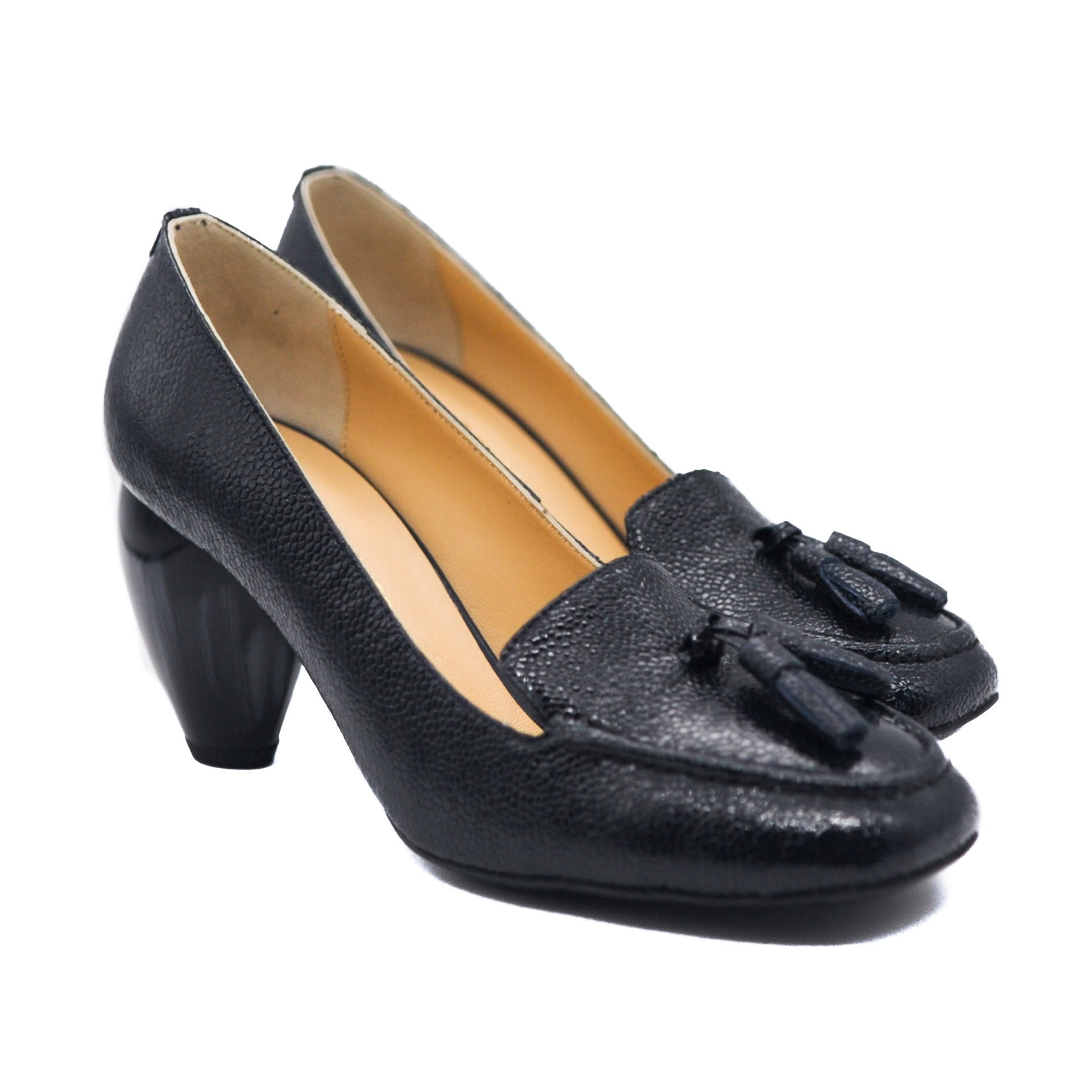Goody2Shoes Ladies' Loafer Slip-On Courts in Navy with Tulip Heel