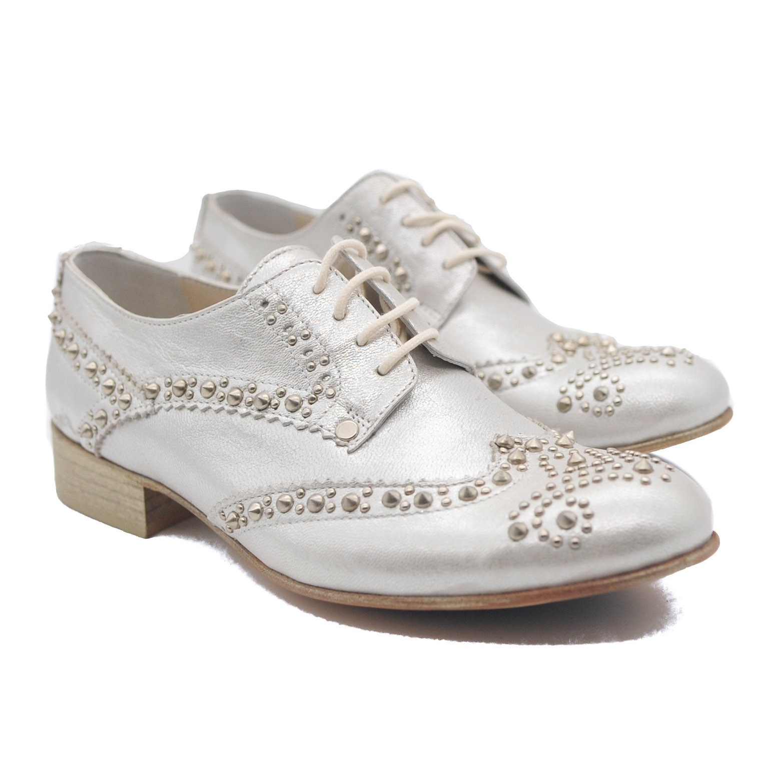 Goody2Shoes Ladies Low Heel Lace Up Silver Brogues with Decorative Studs