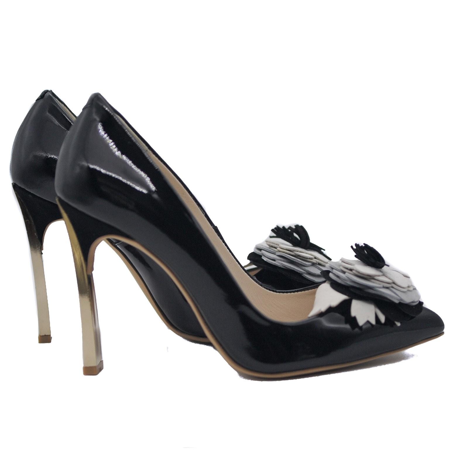 Goody2Shoes Ladies' Metallic Block Heel Black Patent Court Shoe with Suede Flower