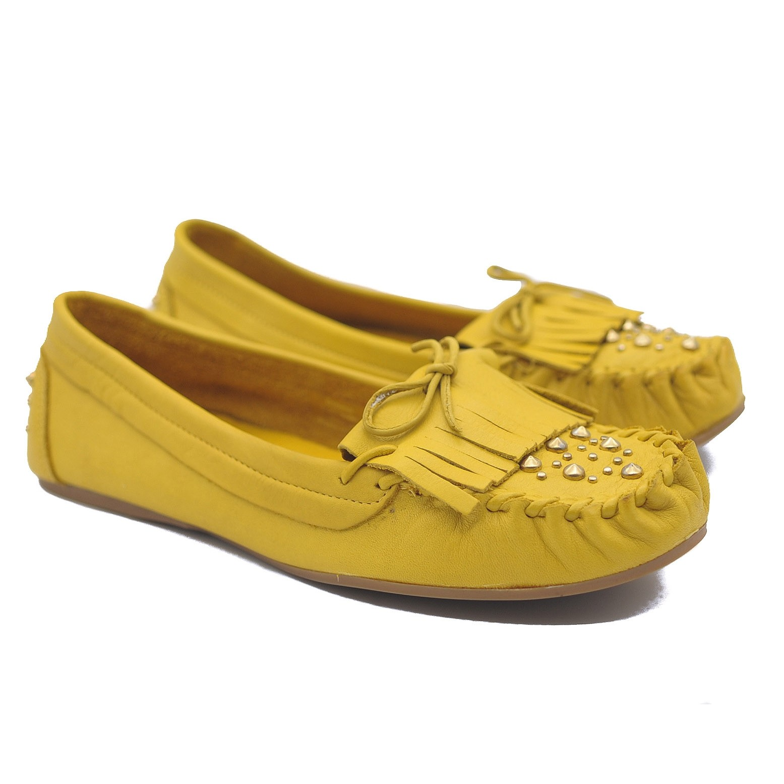 Goody2Shoes Ladies Mustard Yellow Leather Moccasins with Gold Studding