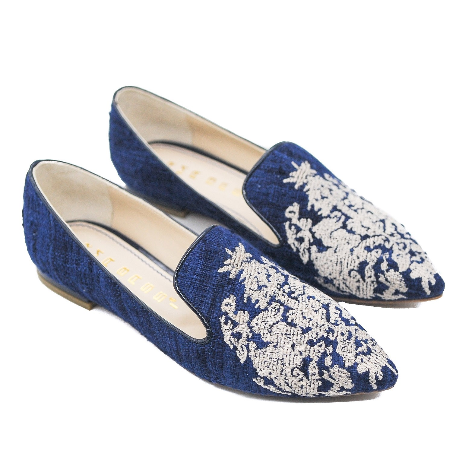 Goody2Shoes Ladies' Navy Blue Flat Pumps with Cream Embroidered Toe Detail