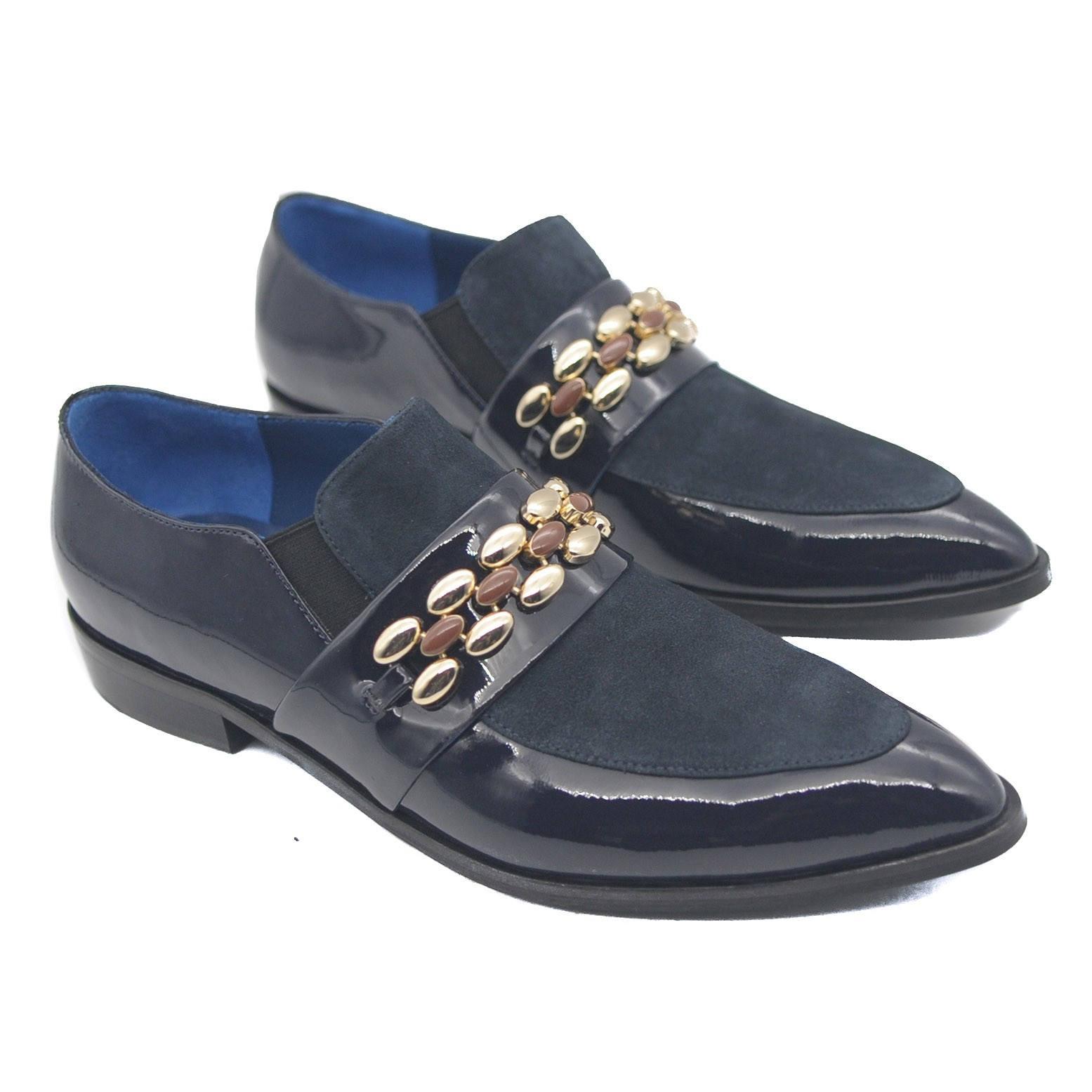 Goody2Shoes Ladies Navy Suede and Patent Black Leather Slip on Loafer with Beads