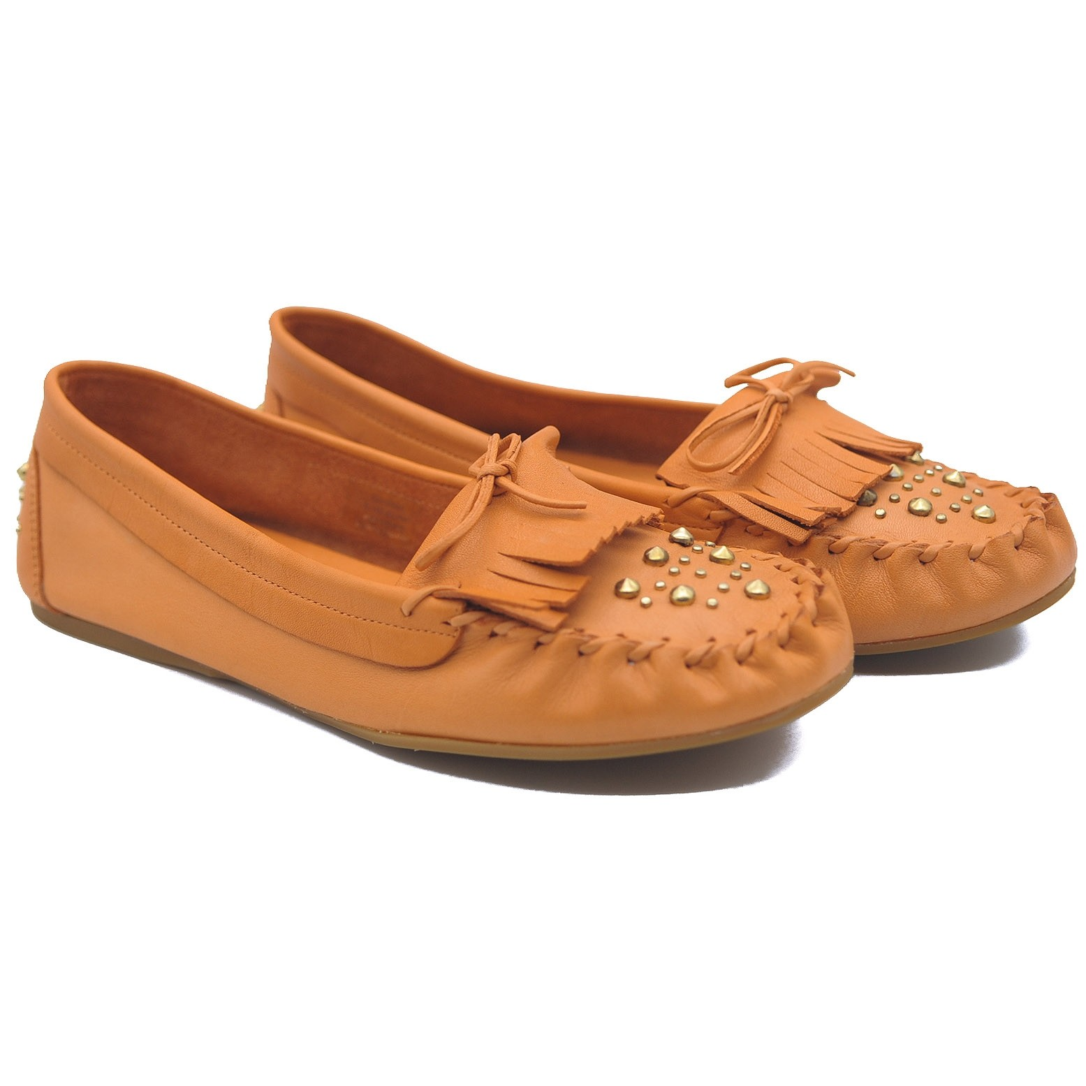 Goody2Shoes Ladies Orange Leather Moccasins with Gold Studding