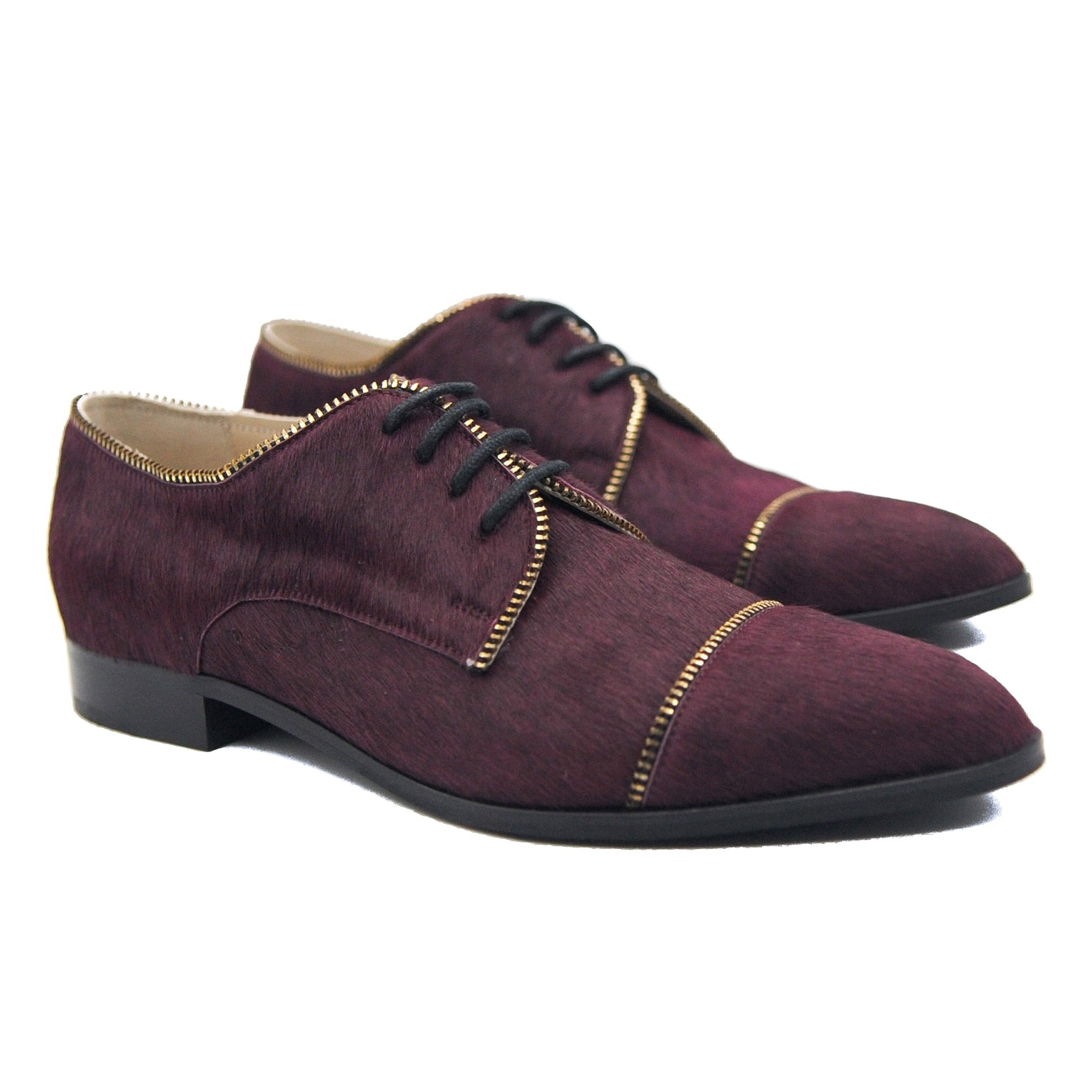 Goody2Shoes Ladies Pony Hair Mahogany Lace Up Brogues with Decorative Zips