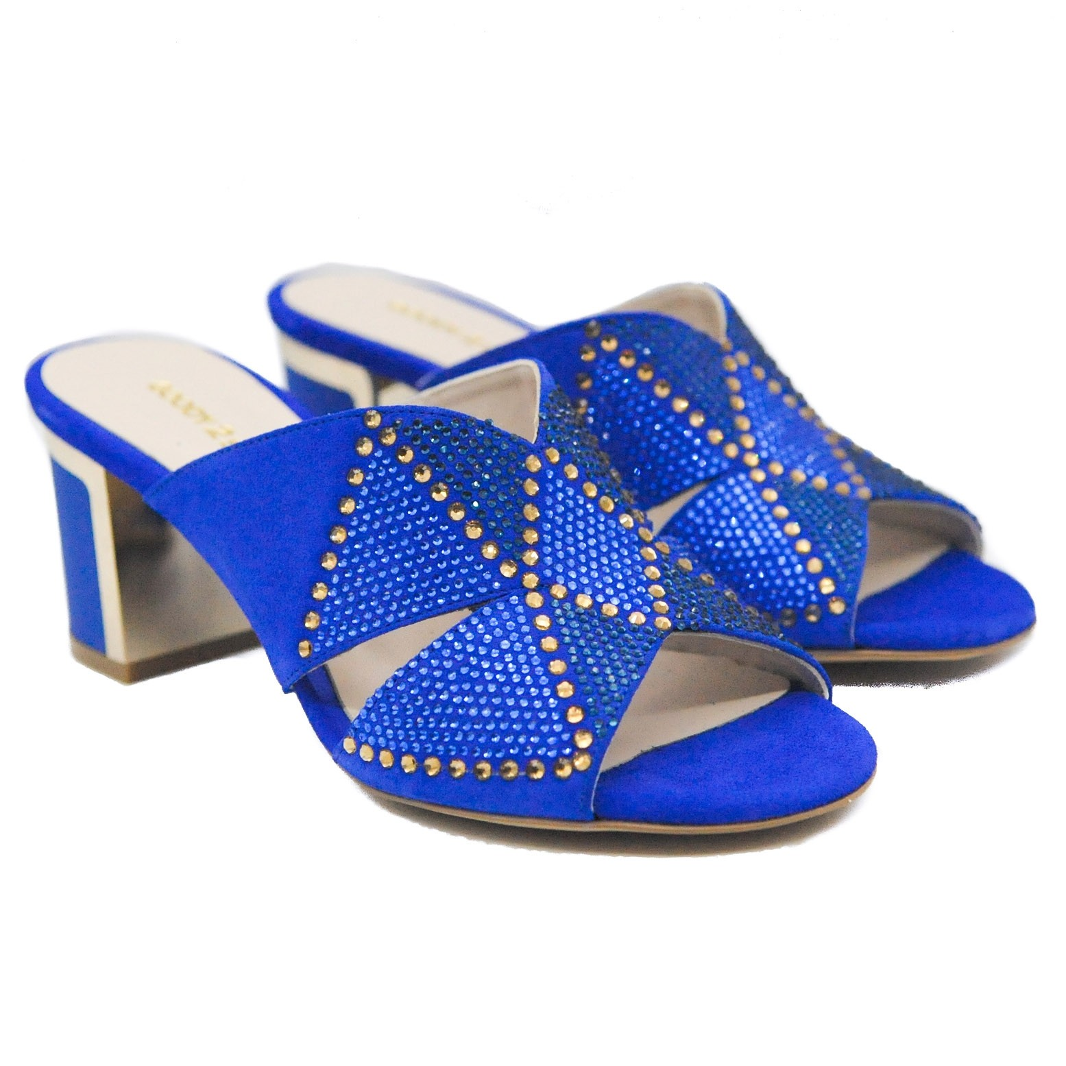 Goody2Shoes Ladies' Royal Blue Block Heel Sandals with Crossover Straps and Gems