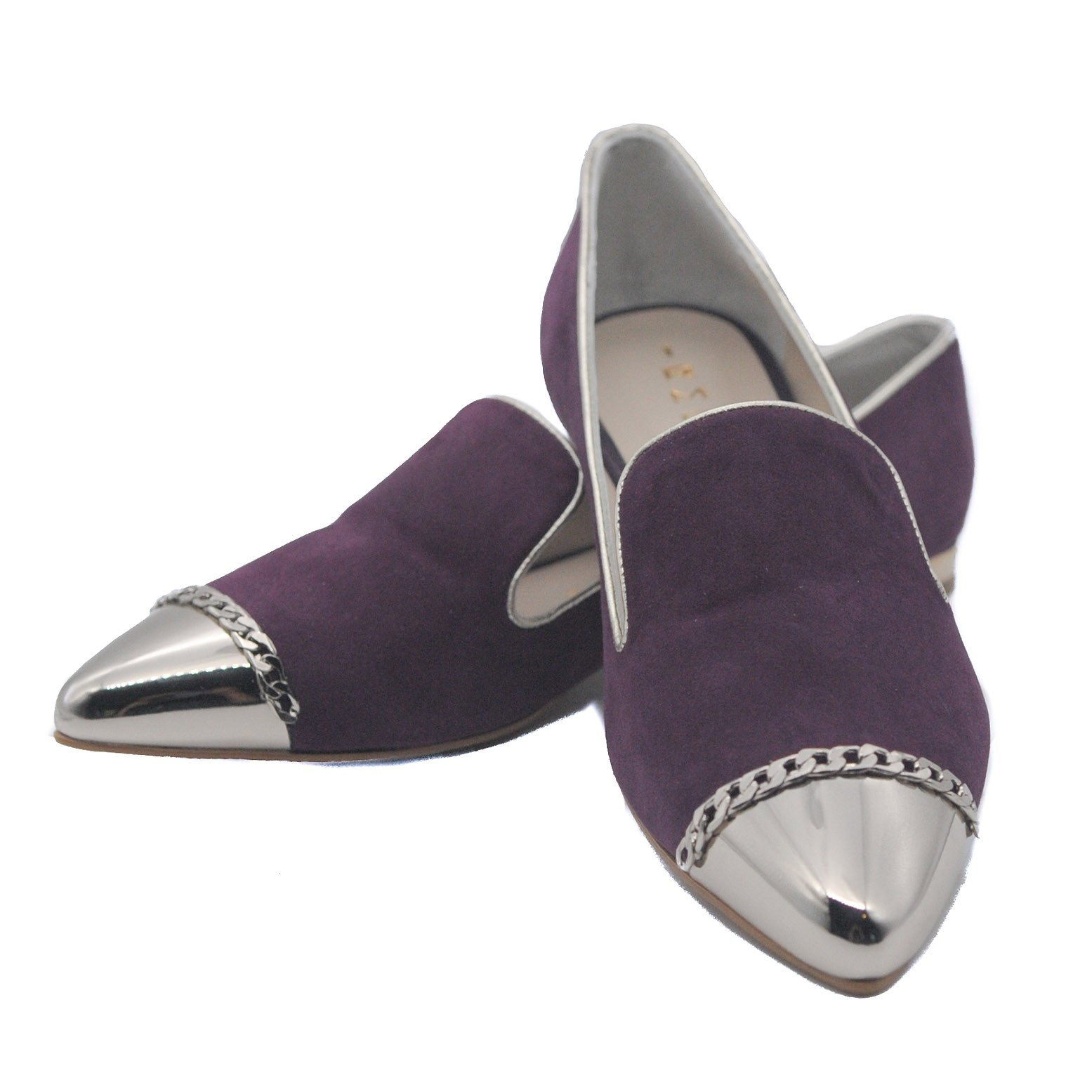Goody2Shoes Ladies Slipper Pumps Flats in Plum Suede with Silver Pointed Toe