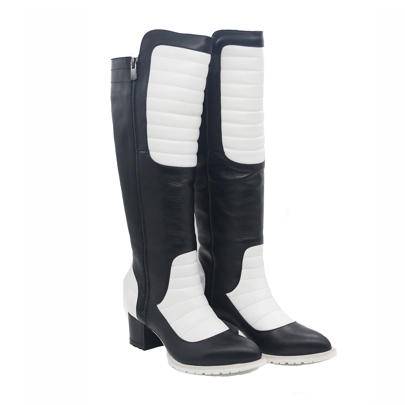 Goody2Shoes Ladies White and Black Leather Knee-High Boots