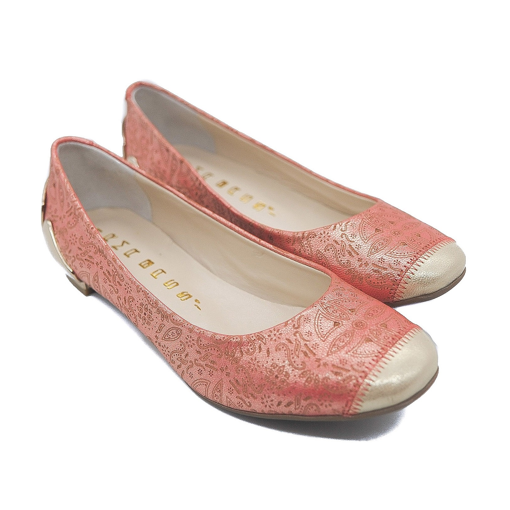 Goody2Shoes Orange Flat Ballet Pumps with Gold Metal Heel and Pinprick Pattern