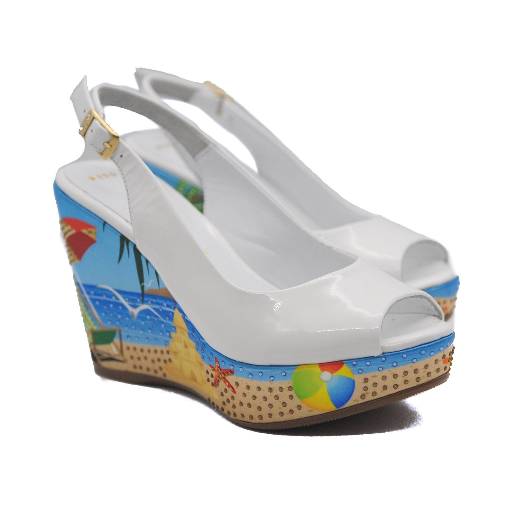 Goody2Shoes Slingback White Patent Wedges with Peep Toe and Diamanté Jewels on a Beach Scene
