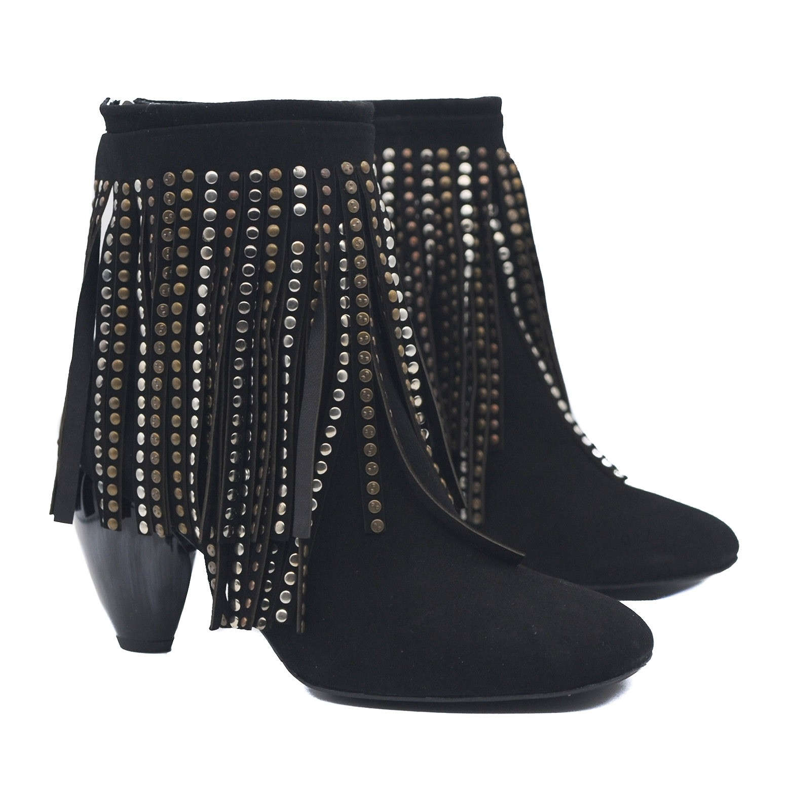 Goody2Shoes Suede Black Ankle Boots with Beaded Fringing and Tulip Shaped Heel