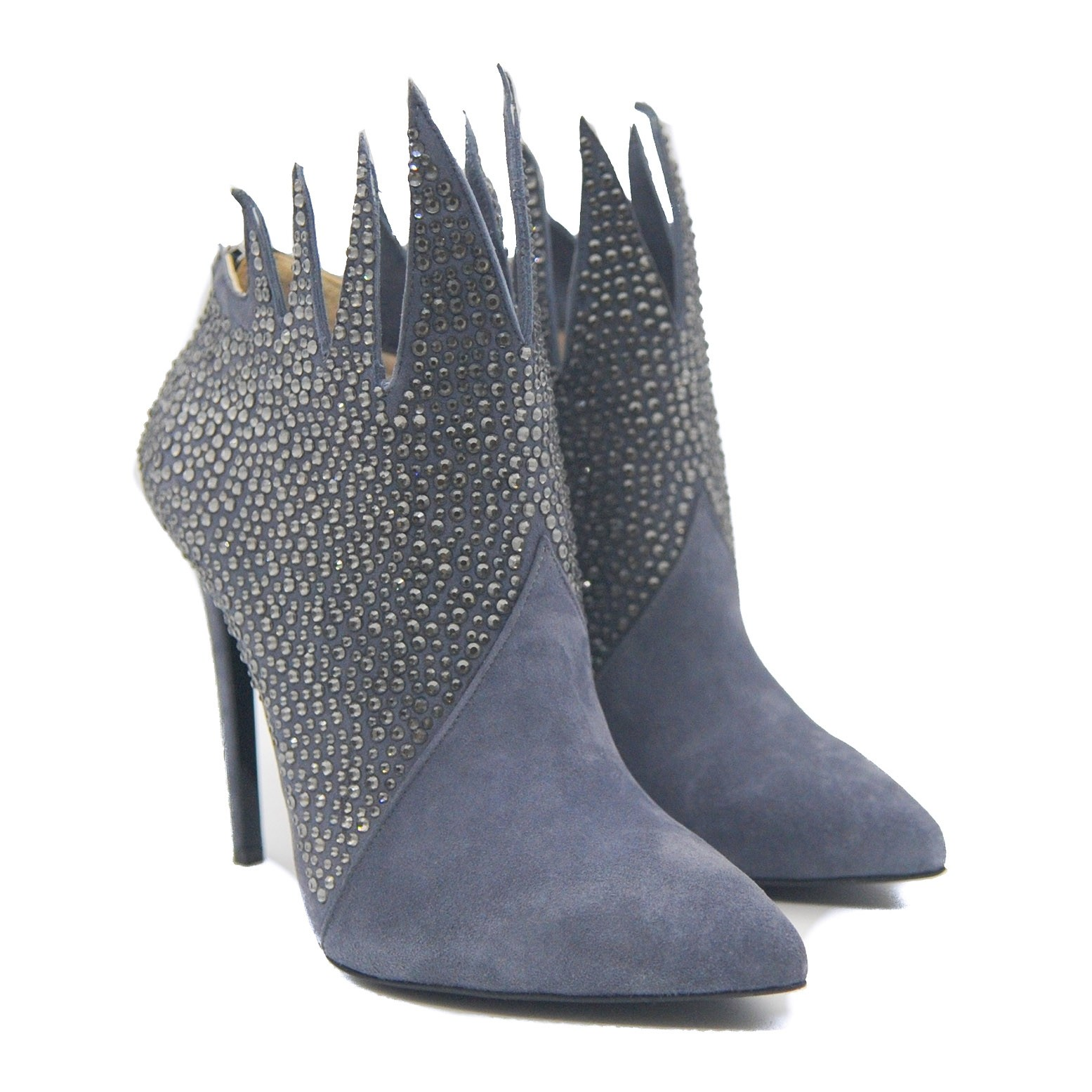 Goody2Shoes Suede Stiletto Grey Shoe Boot Jewel Encrusted with Flame Effect Ankle
