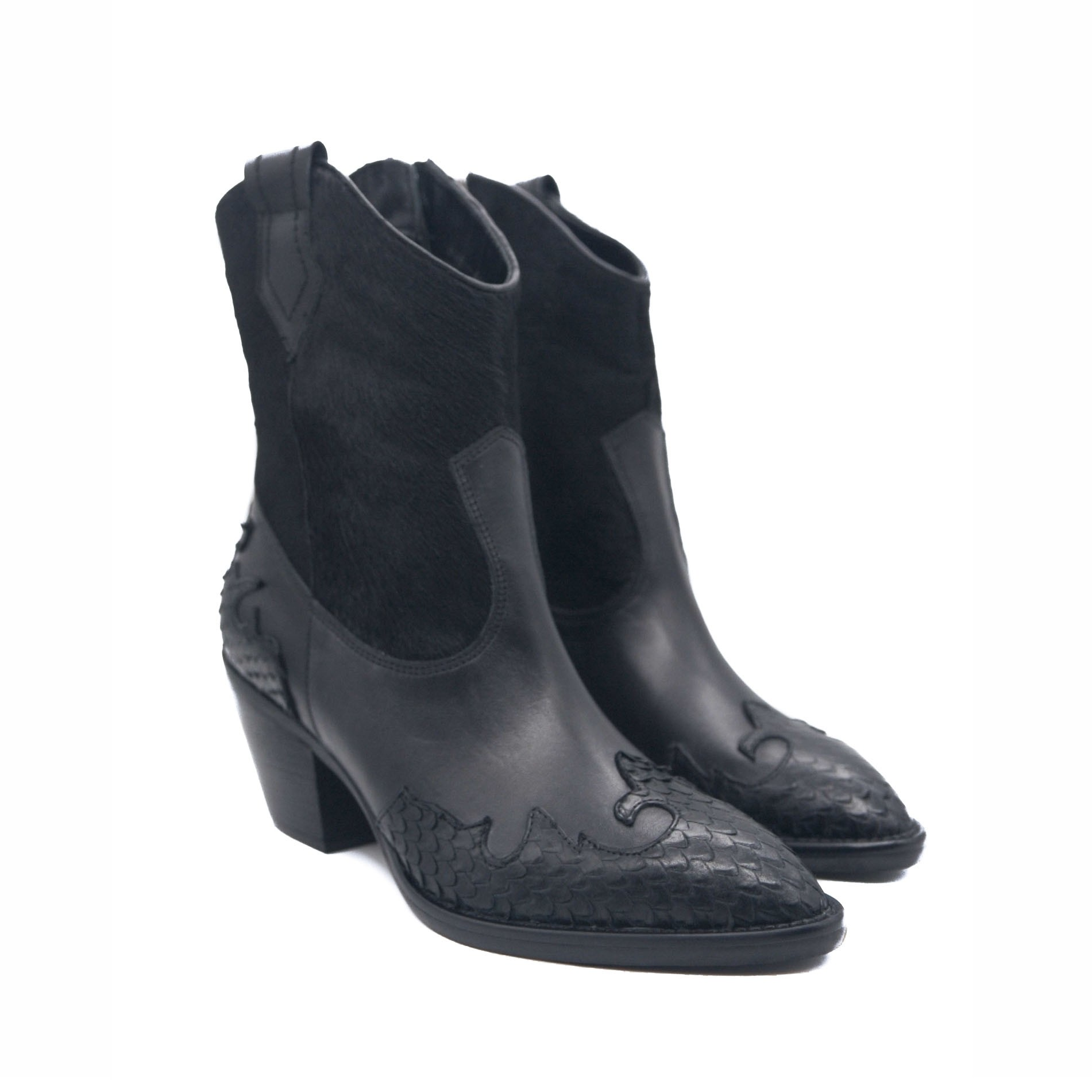 Goody2shoes Western Black Leather and Calf Hair Cowgirl Ladies Ankle Boots