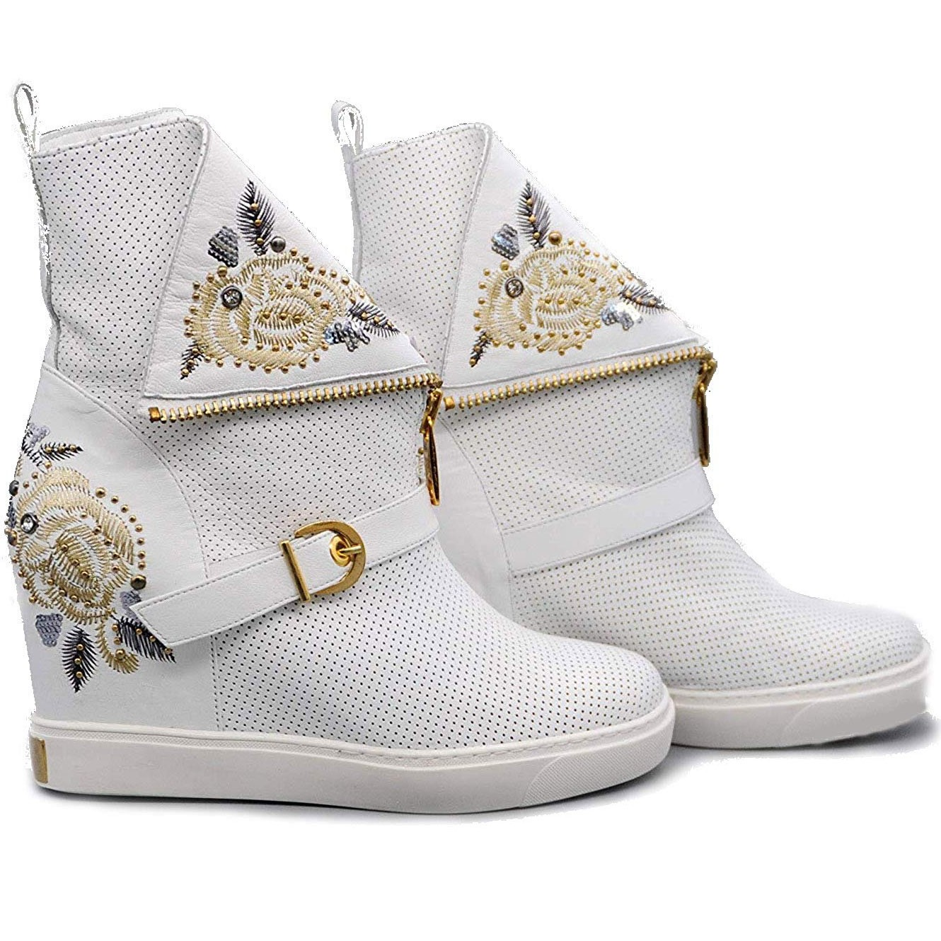 Ladies Casual Ankle Leather Boots with Gold Silver Leaf Pattern and Studs with Wedge Heel