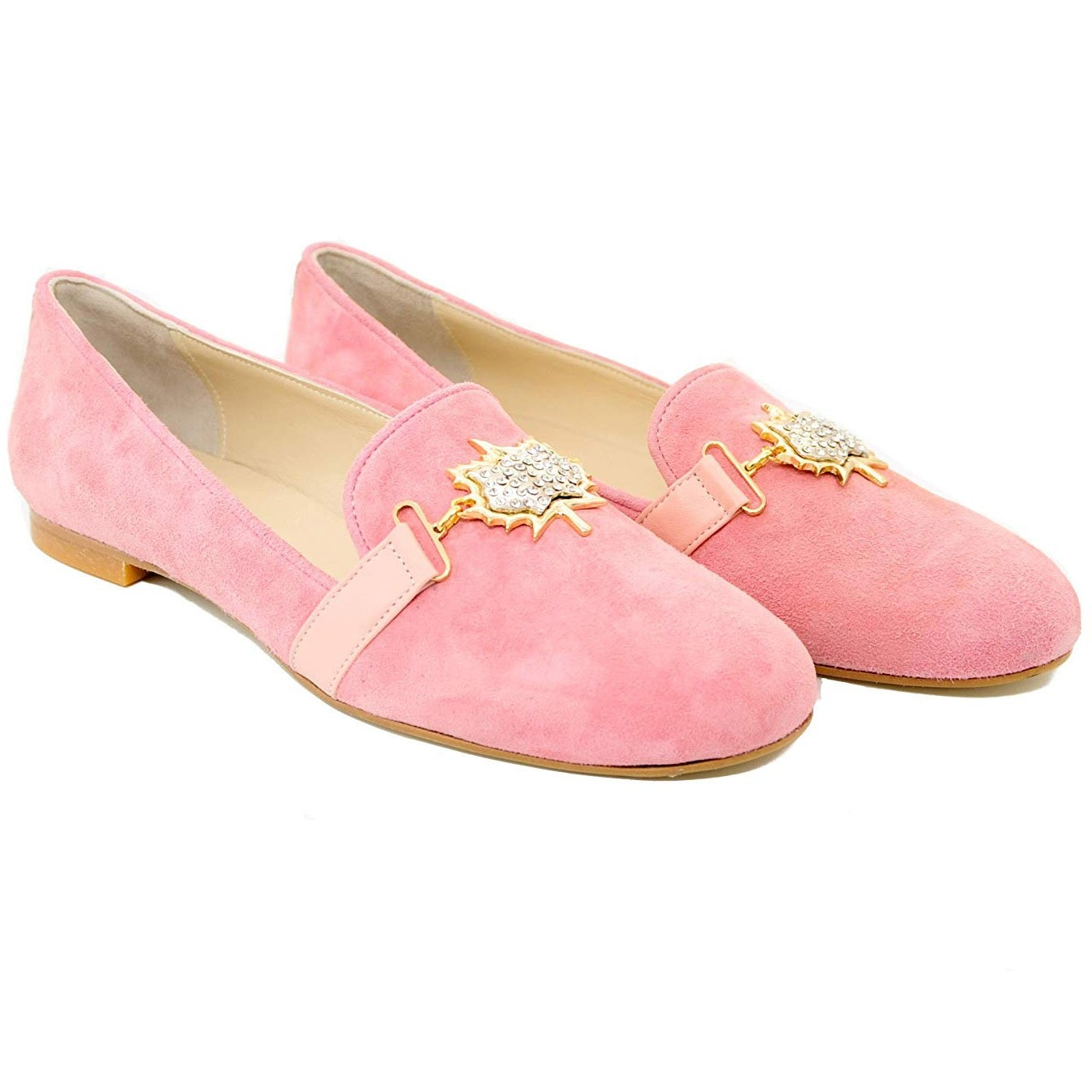 Ladies Pegia Leaf Pink Slip On Attractive Flat Suede Shoes with Jewelled Front