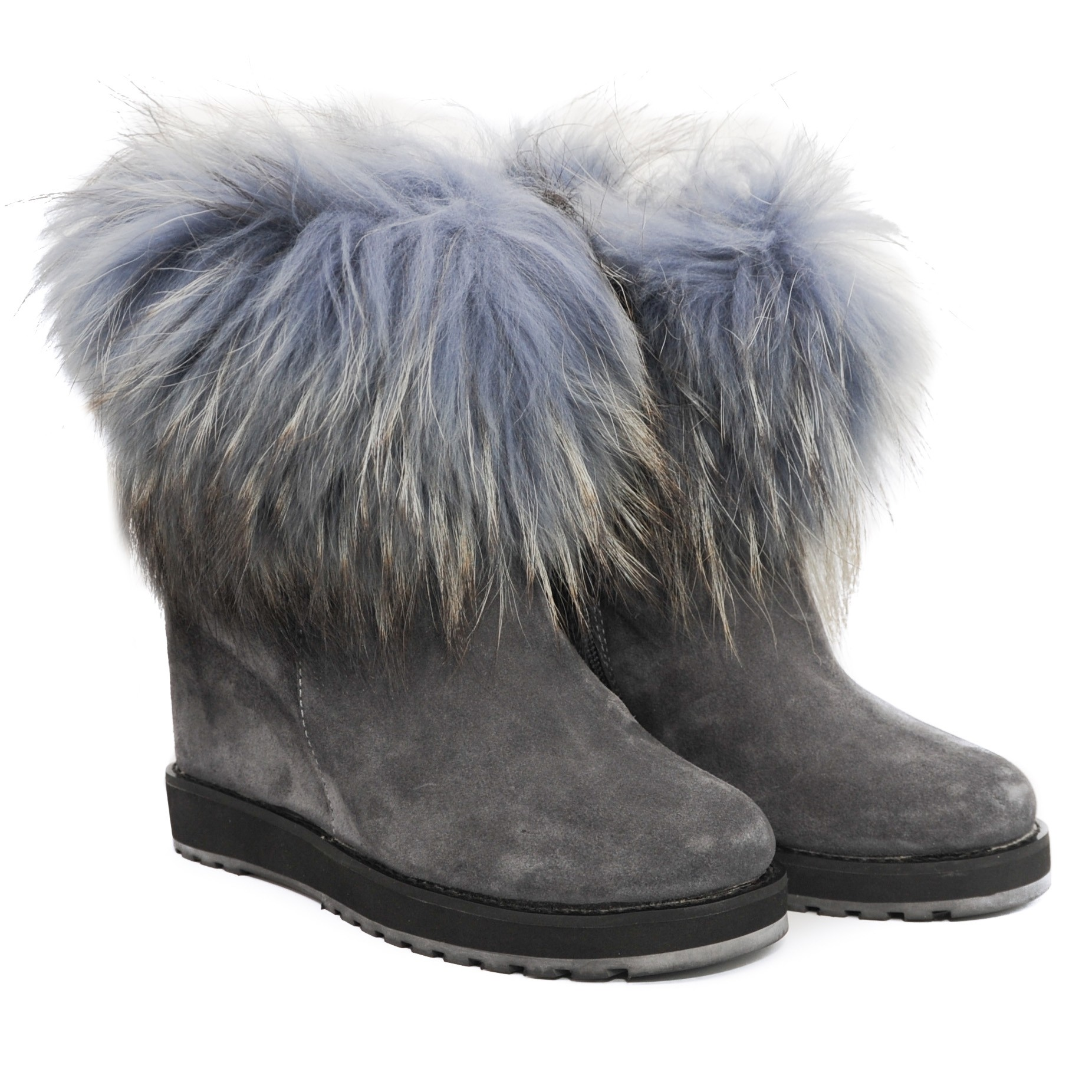Ladies Pegia Light Grey Bluish Suede Ankle Boots with Inner Raised Heel and Fur Trim