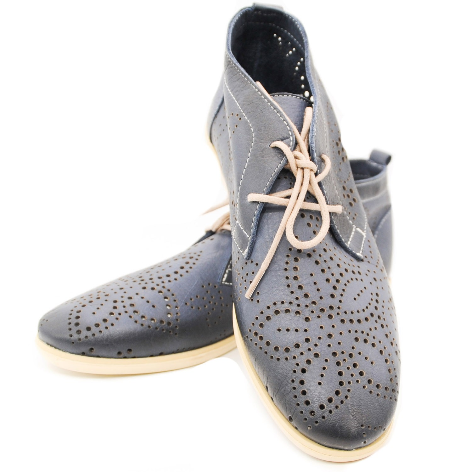 Ladies Stylish Blue Desert Flat Leather Shoes with Laces and Simple Pattern Effect