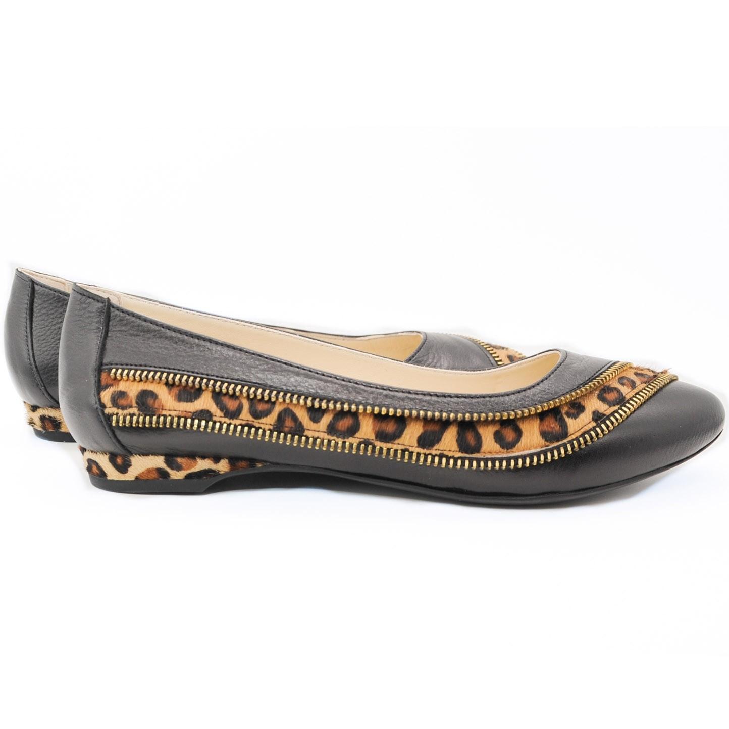 Leather Ballerina with Zip Leopard Strip Overlay Slip On Flats