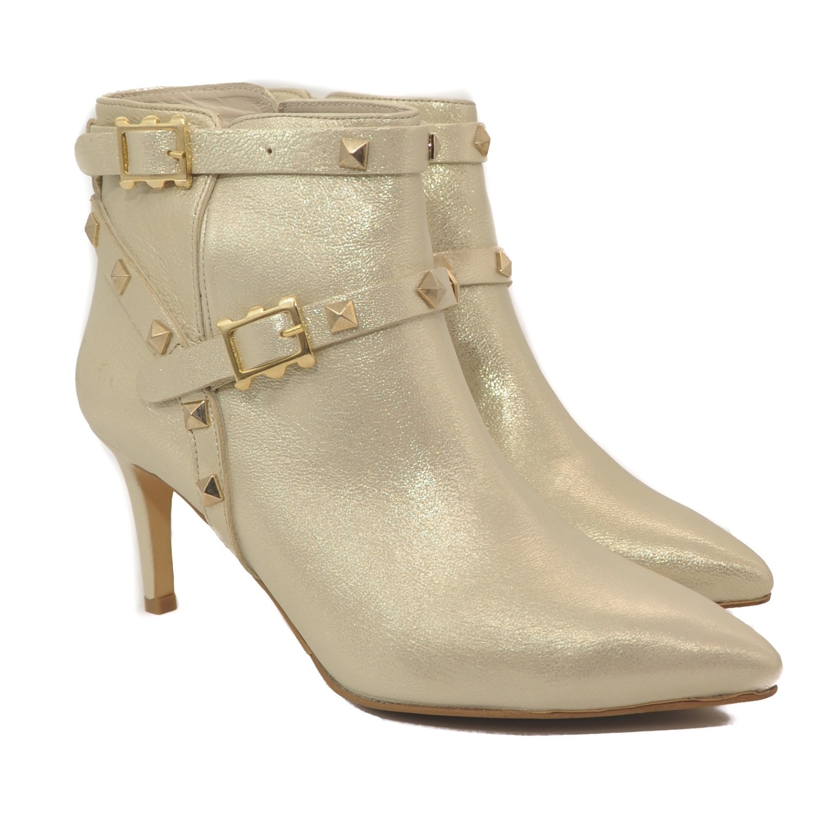 Leather Stud Ankle Boots with Double Straps and High Heels